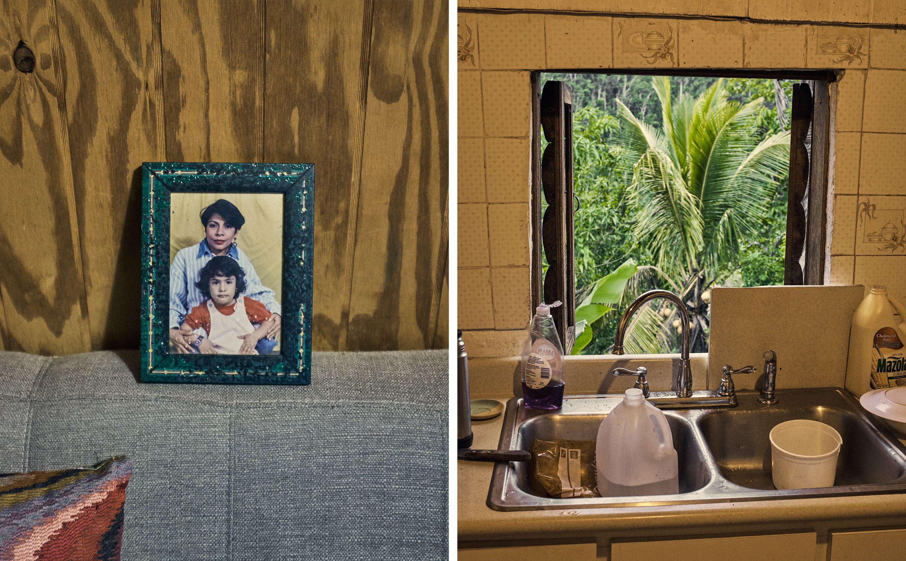 A portrait of the late Maribel Sánchez Flores when her daughter was a child; Magdalena's kitchen.