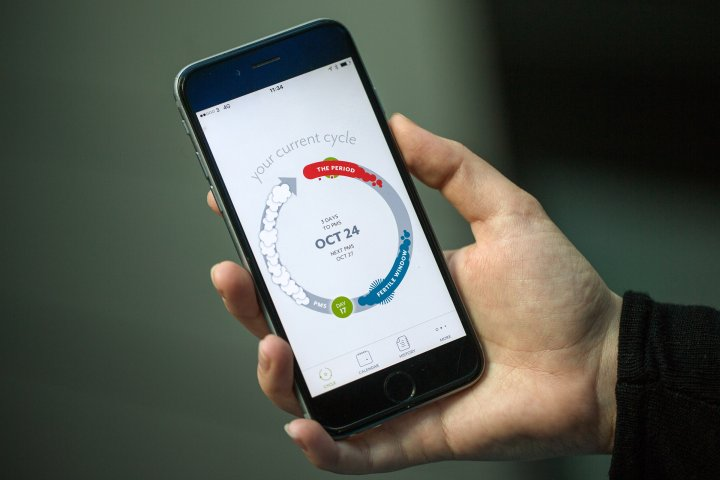 A screen from the Clue health app, made by BioWink GmbH, sits on a smart device in this arranged photograph in London, on Oct. 9, 2015.