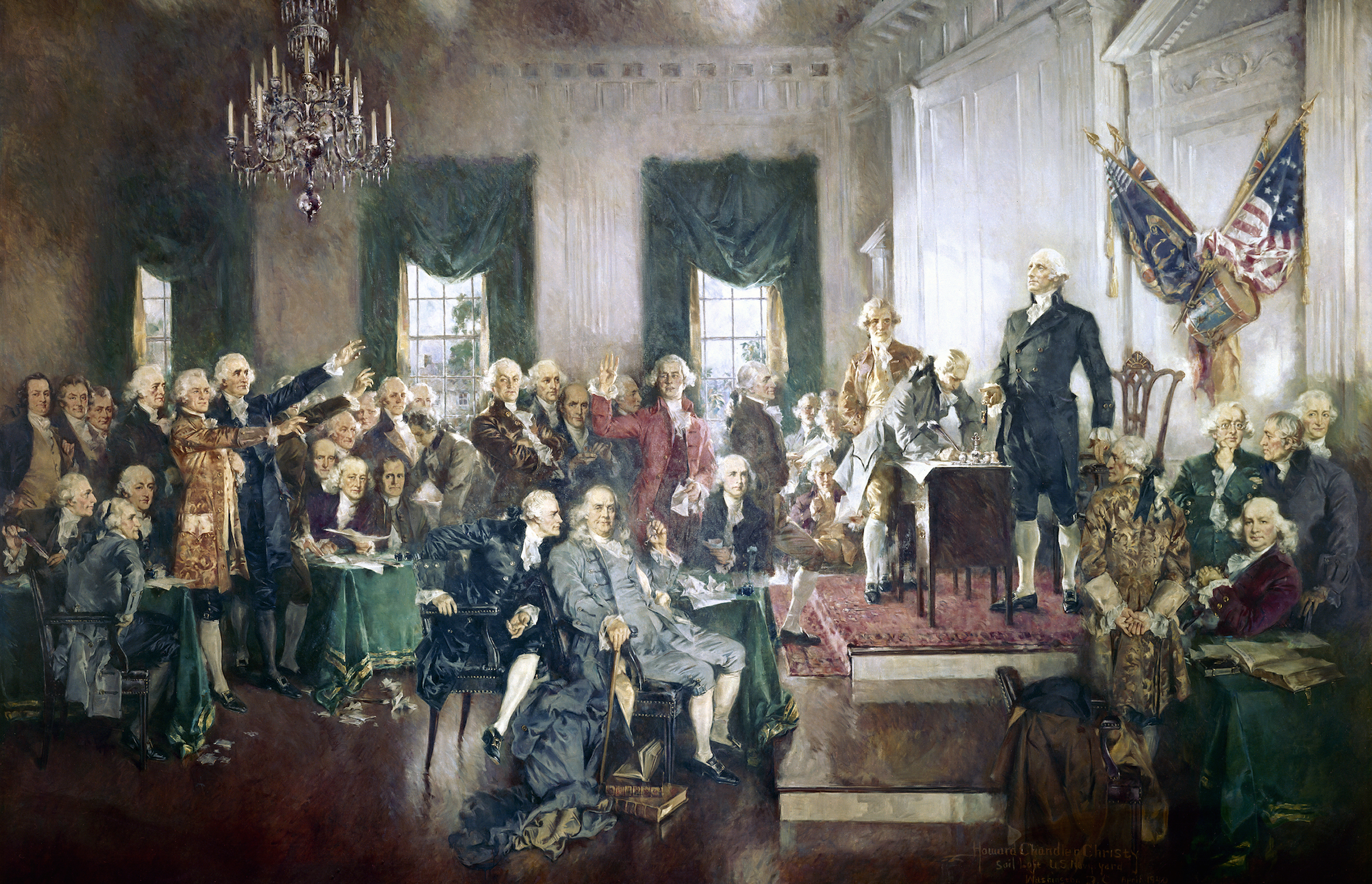 The Signing of the Constitution of the United States, with George Washington, Benjamin Franklin, and others at the Constitutional Convention of 1787; oil painting on canvas by Howard Chandler Christy, 1940. The painting is 20 by 30 feet and hangs in the United States Capitol building. (Photo by GraphicaArtis/Getty Images)
