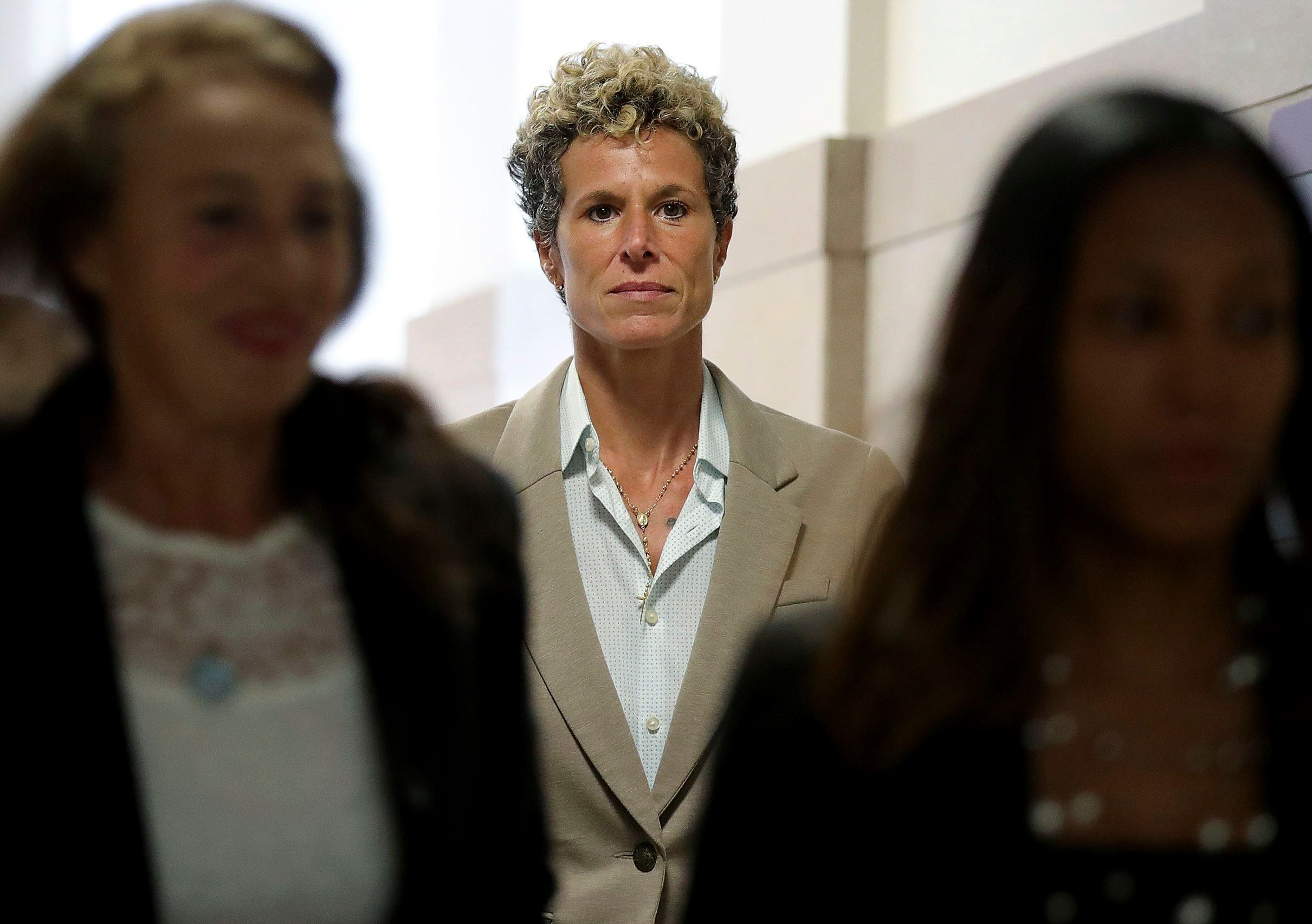 Accuser Andrea Constand returns to the courtroom at the sentencing hearing for Bill Cosby at the Montgomery County Courthouse in Norristown, Pa., on Sept. 24, 2018.