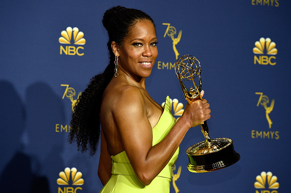 Actor Regina King poses with the Outstanding Lead Actress in a Limited Series or Movie award for 'Seven Seconds' during the 70th Annual Primetime Emmy Awards held at the Microsoft Theater on September 17, 2018.