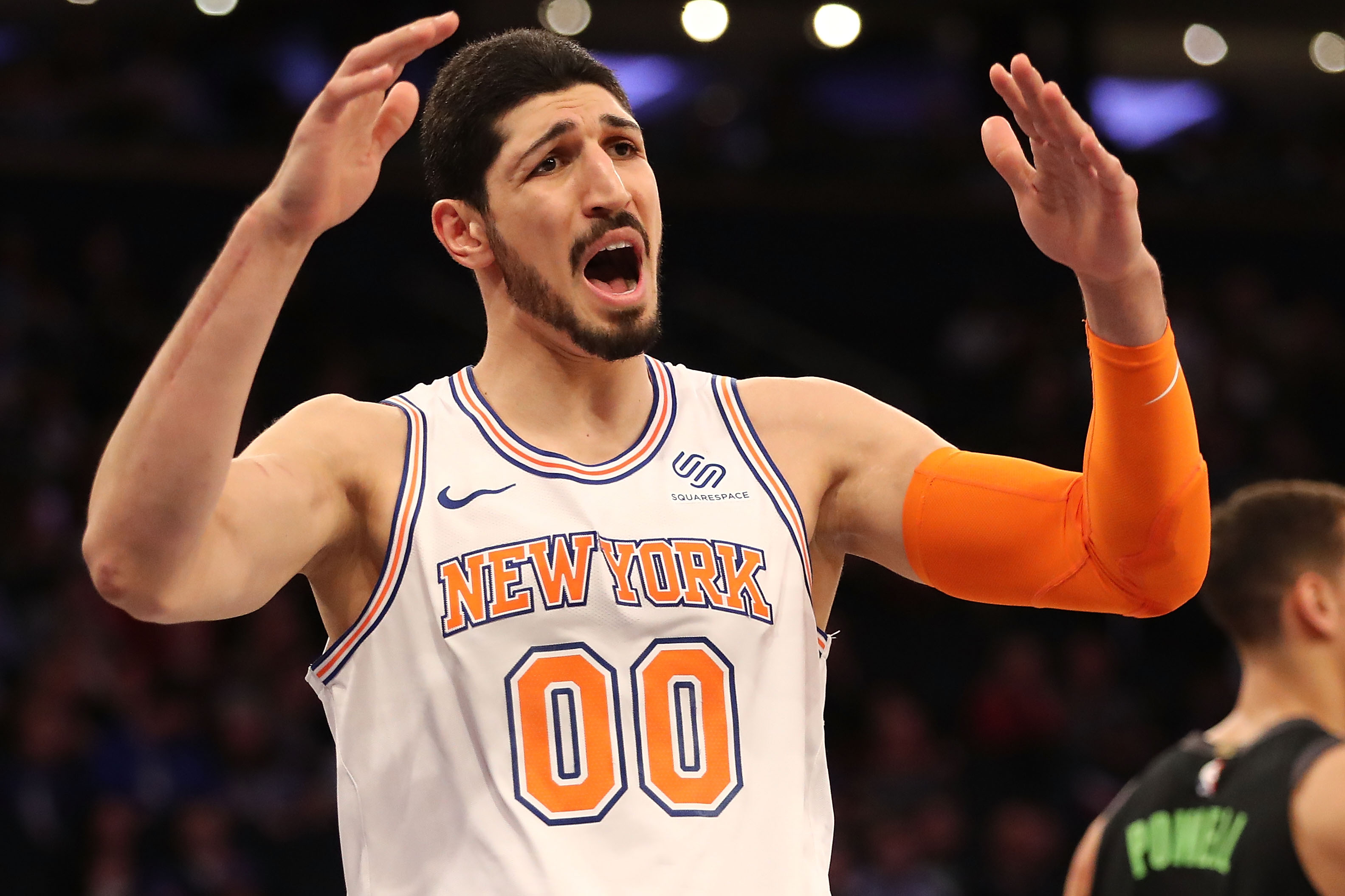 Enes Kanter #00 of the New York Knicks reacts in the second quarter against the Dallas Mavericks during their game at Madison Square Garden on March 13, 2018 in New York City.