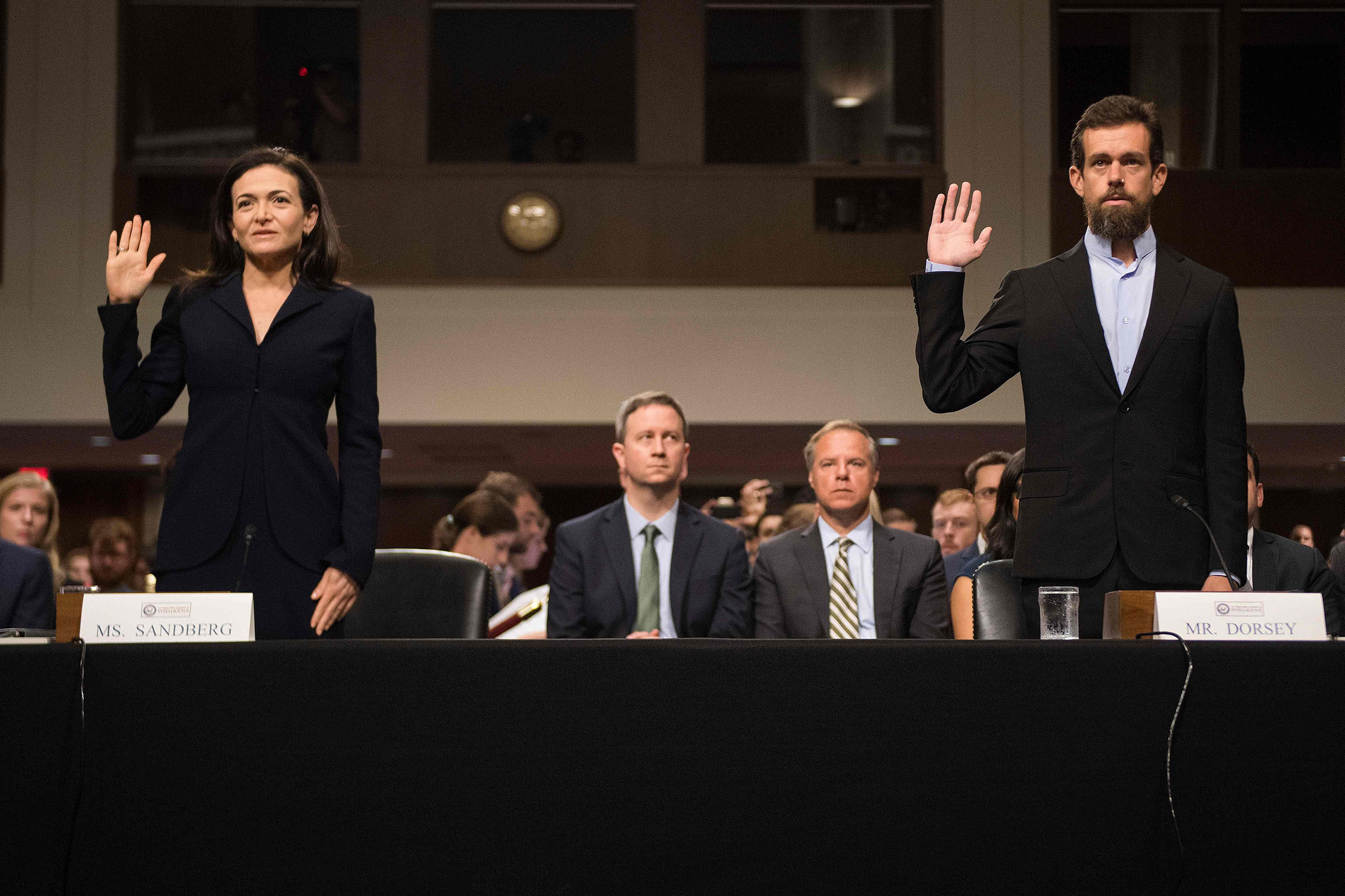 Facebook's Sheryl Sandberg and Twitter's Jack Dorsey testify before the U.S. Senate in Washington on Sept. 5