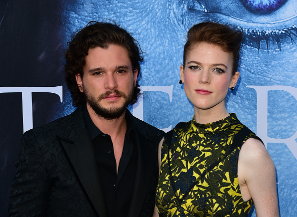 Kit Harington, Rose Leslie attend the Season 7 Premiere Of HBO's 'Game Of Thrones' at Walt Disney Concert Hall on July 12, 2017 in Los Angeles, California.