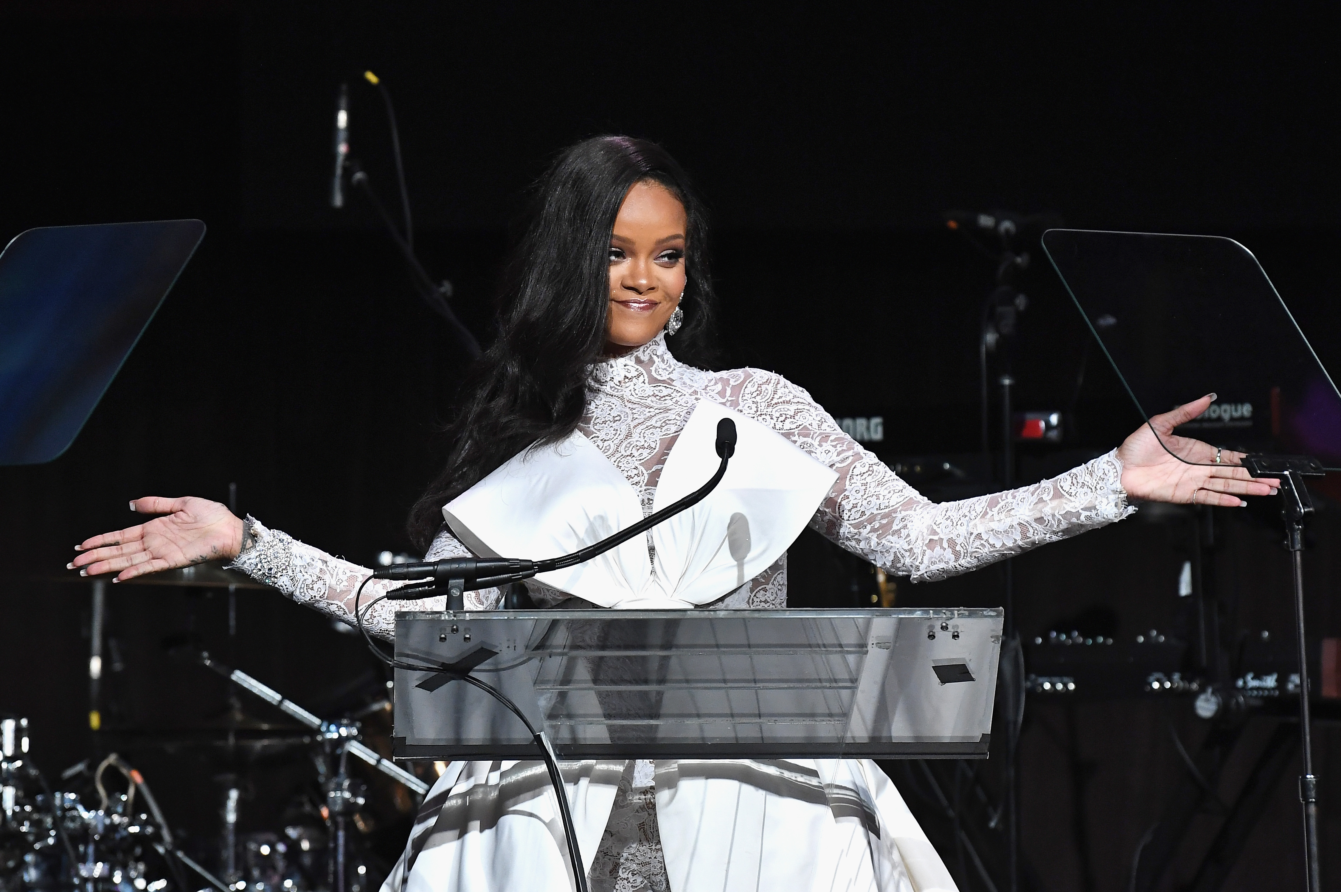 NEW YORK, NY - SEPTEMBER 13:  Rihanna speaks onstage during Rihanna's 4th Annual Diamond Ball benefitting The Clara Lionel Foundation at Cipriani Wall Street on September 13, 2018 in New York City.  (Photo by Dimitrios Kambouris/Getty Images for Diamond Ball)