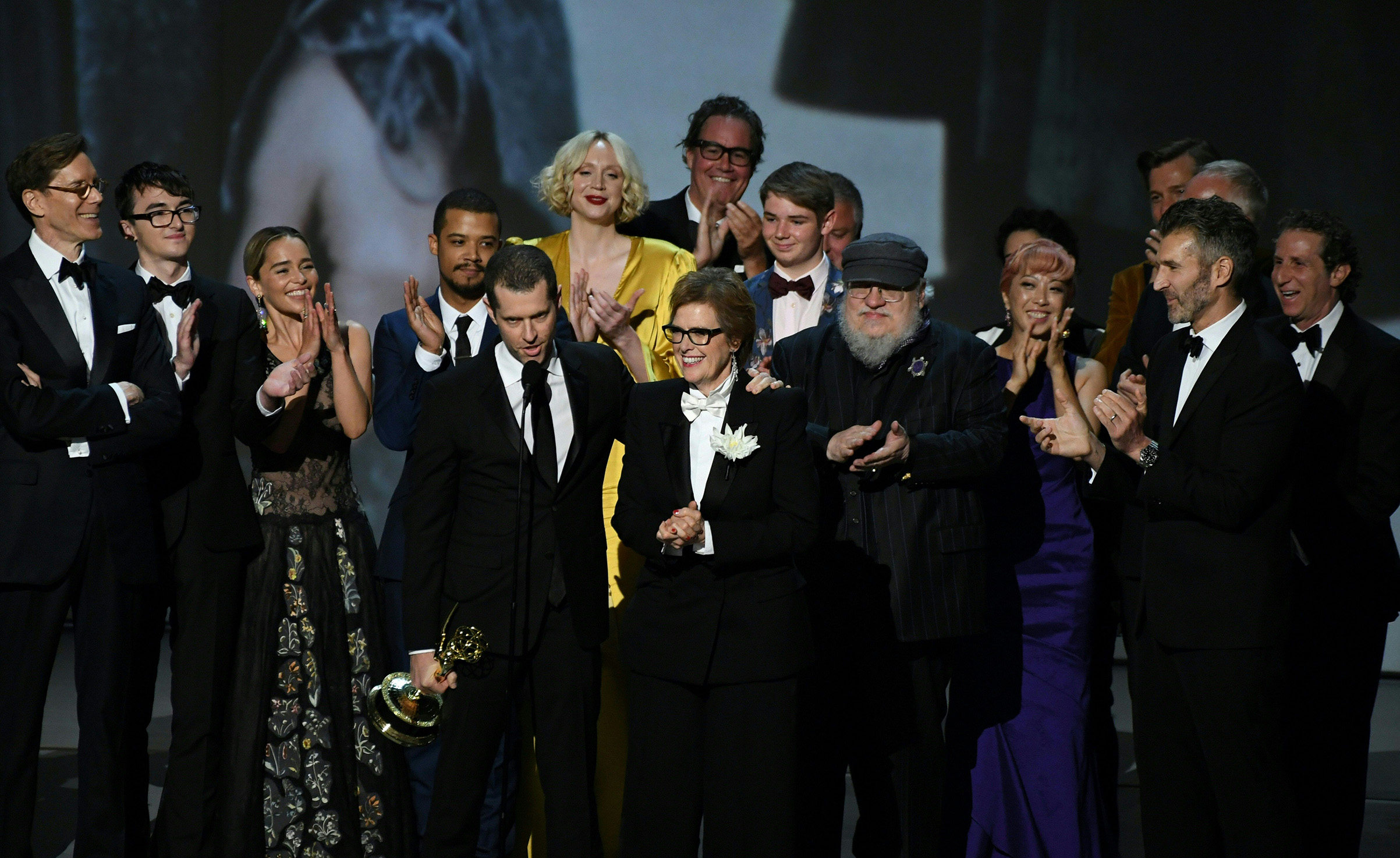 Writer-producer D.B. Weiss and the cast of  Game of Thrones  accept the award Outstanding Drama series  onstage during the 70th Emmy Awards at the Microsoft Theatre in Los Angeles on Sept. 17, 2018.