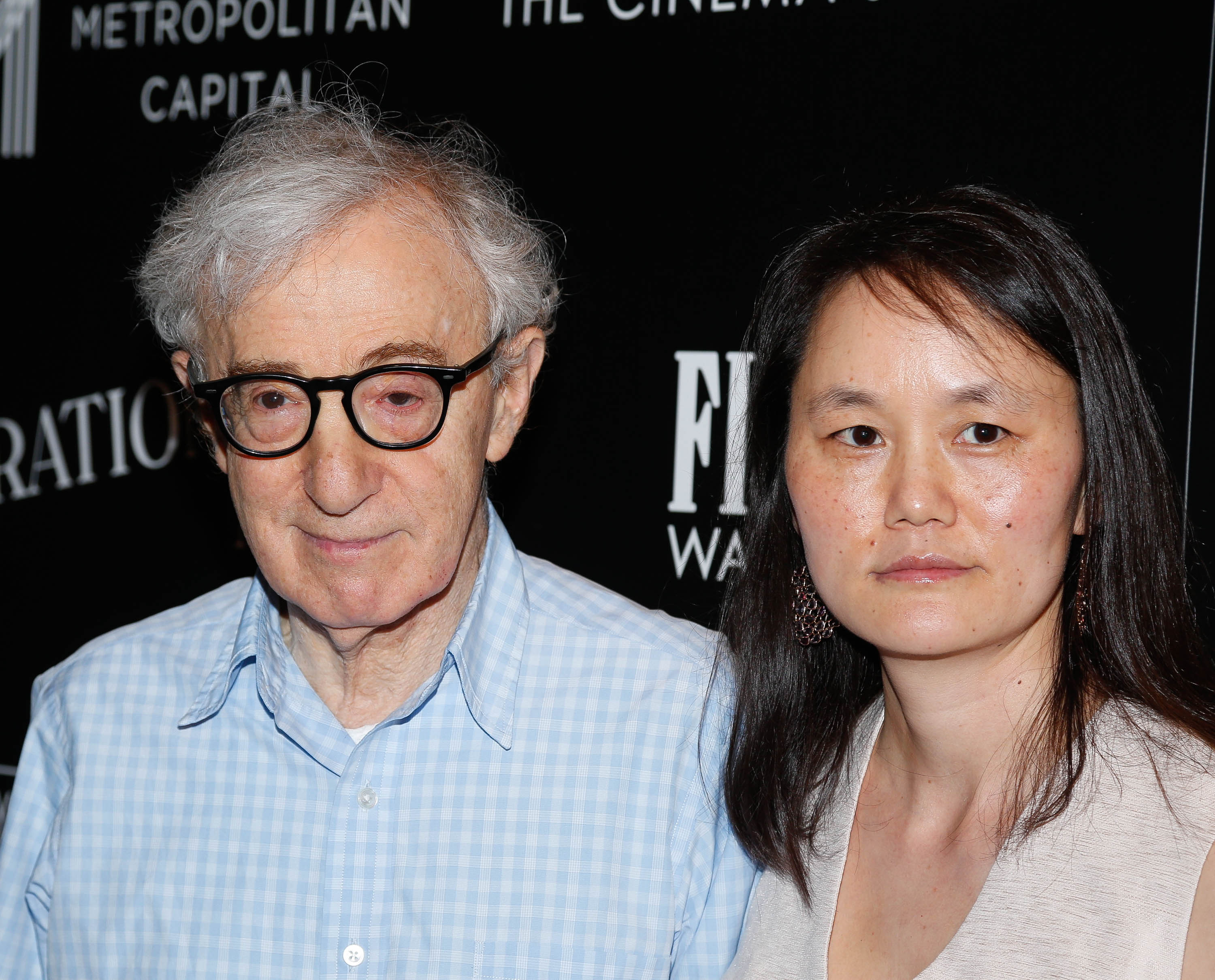 Woody Allen (L) and Soon-Yi Previn attend Sony Pictures Classics  Irrational Man  premiere hosted by Fiji Water, Metropolitan Capital Bank and The Cinema Society in New York City on July 15, 2015.