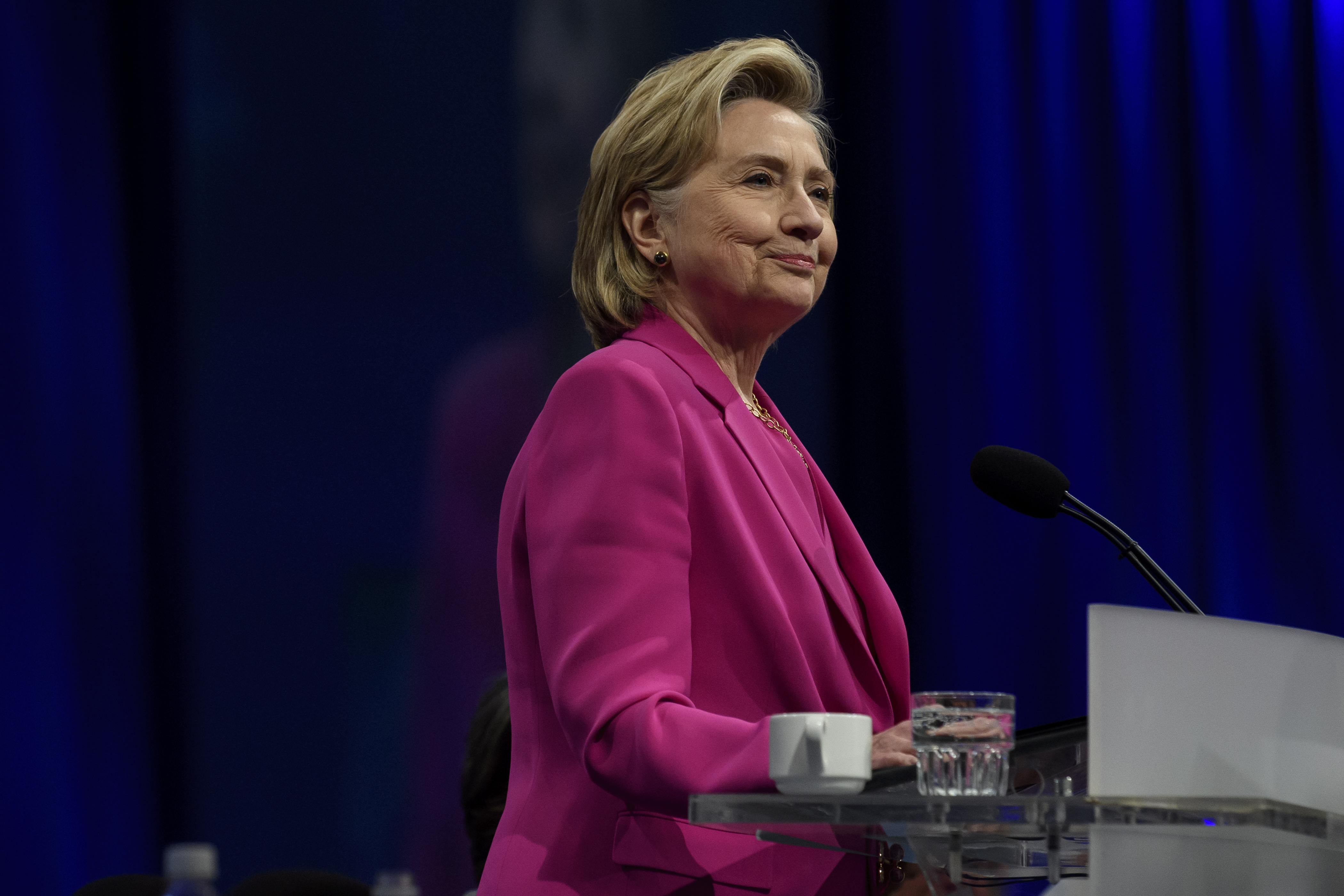 Former Secretary of State Hillary Clinton speaks to the audience at the annual convention of the American Federation of Teachers, in Pittsburgh, Penn. on July 13, 2018.