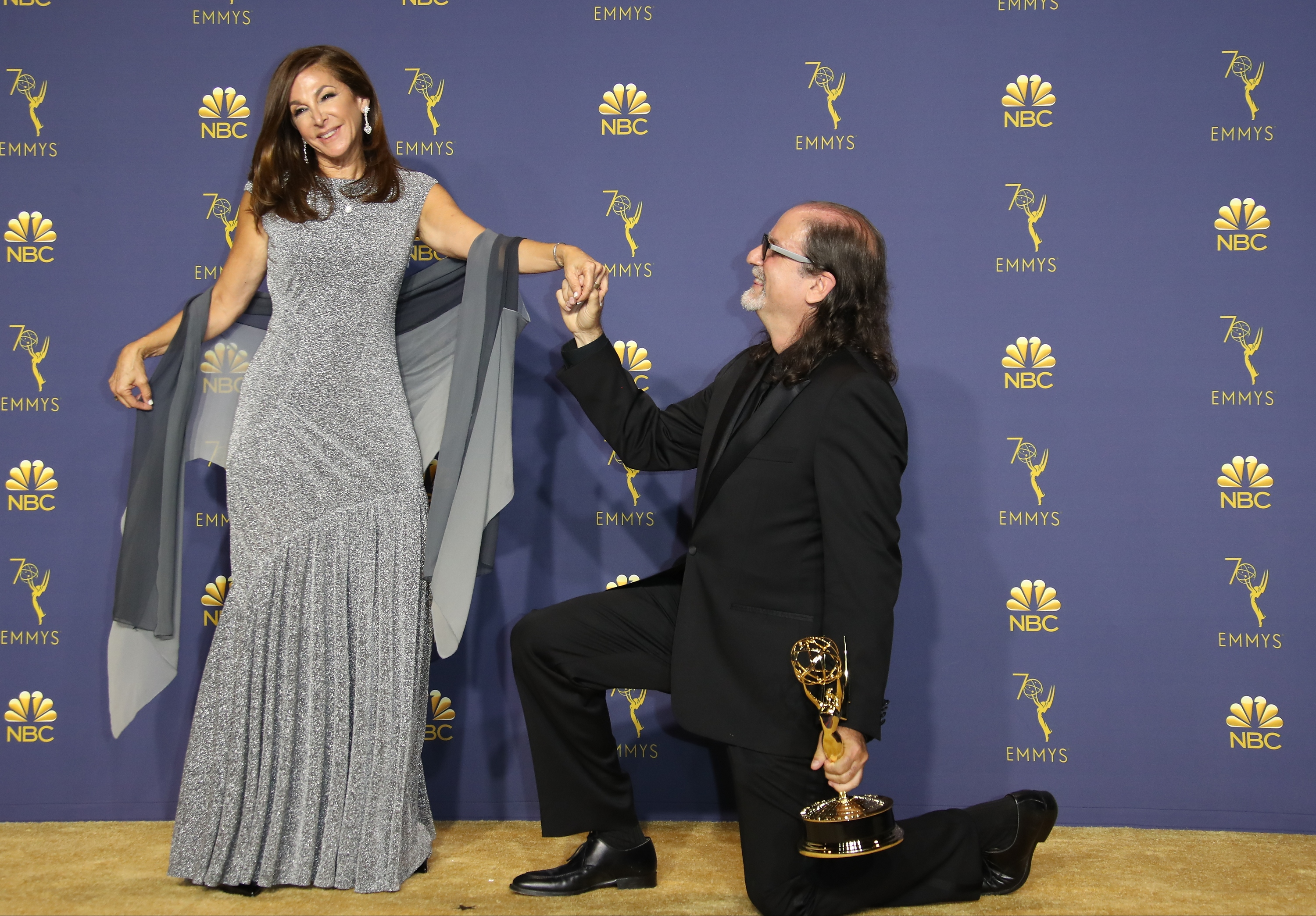 Jan Svendsen (L) and Glenn Weiss pose with the Outstanding Directing For A Variety Special award for 'The Oscars' in the press room on September 17, 2018 in Los Angeles, California.