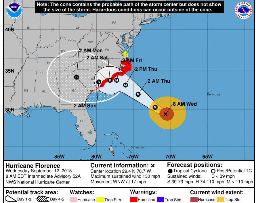 The latest projections of the Hurricane Florence path show it tracking farther south after it makes landfall, according to the National Hurricane Center's 8 a.m. update on Wednesday, Sept. 12.