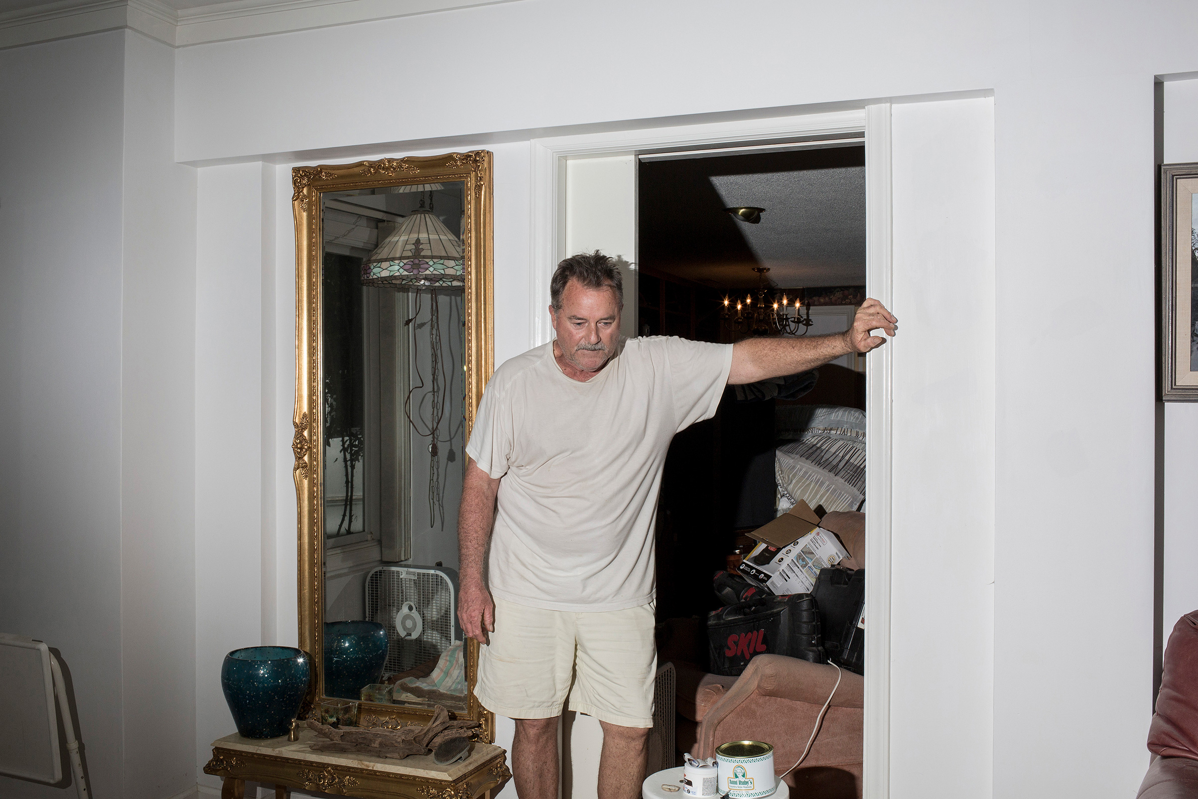 Lee Roy Scott surveys the damage to his home which was flooded due to storm surge from Hurricane Florence in Washington, N.C. on Sept. 15.