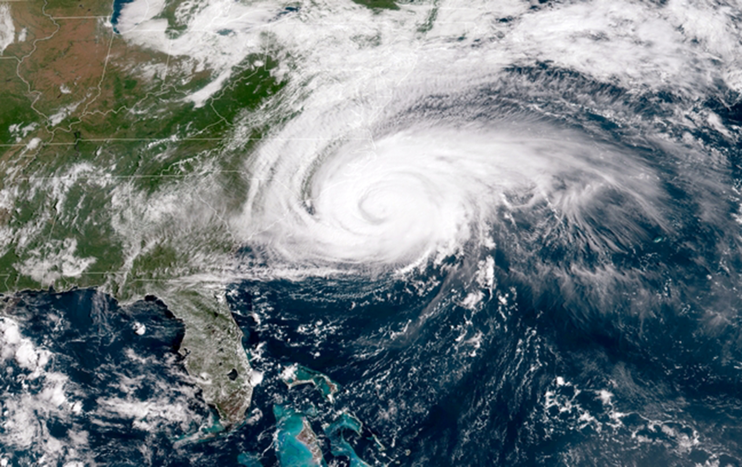 IN SPACE - SEPTEMBER 13:  In this NOAA satellite handout image captured at 15:02 UTC, shows Hurricane Florence as it travels west in the Atlantic Ocean off the coast of the U.S. on September 13, 2018. Coastal cities in North Carolina, South Carolina and Virginia are under evacuation orders as the Category 2 hurricane approaches the United States. (Photo by NOAA via Getty Images)