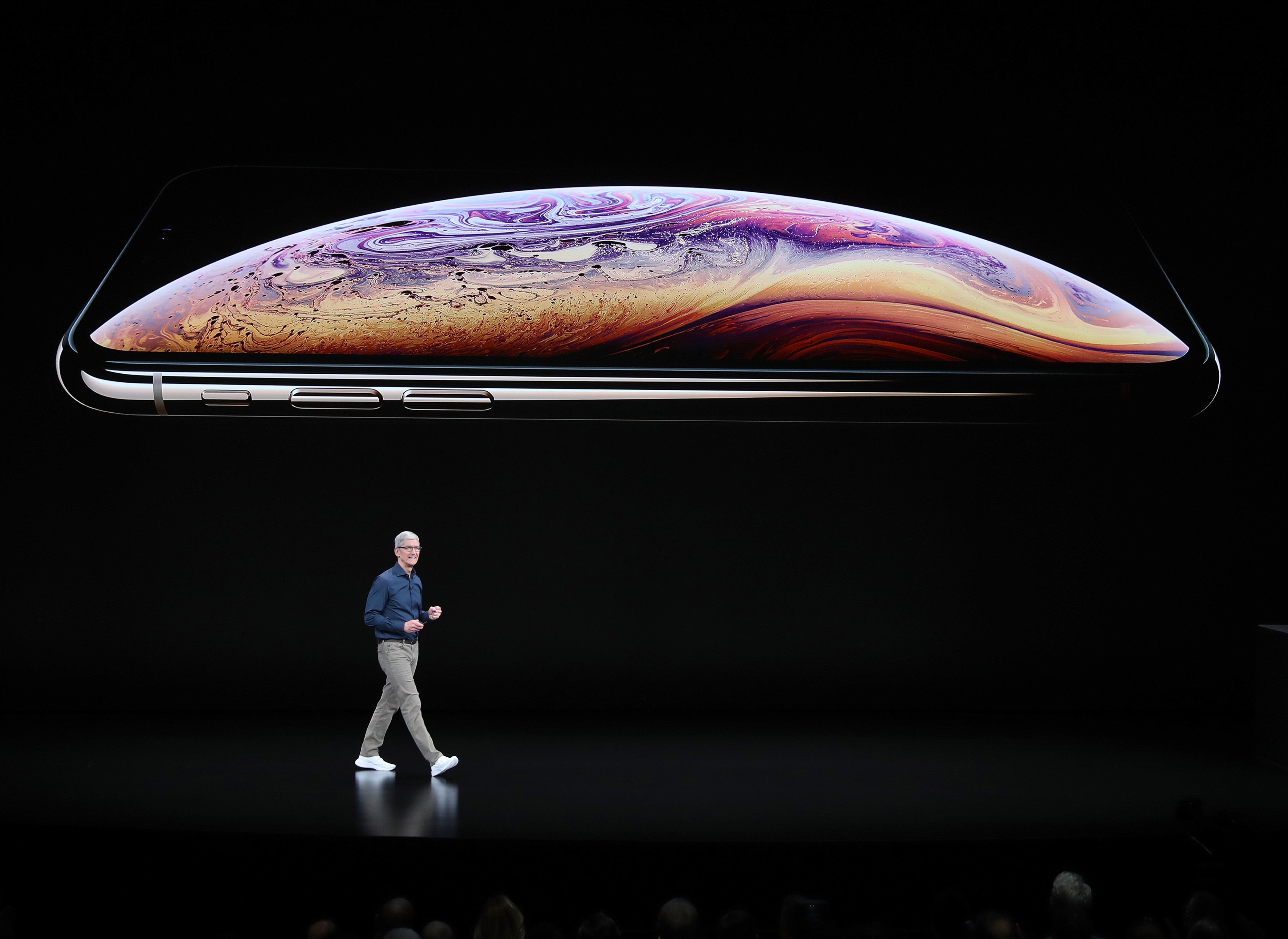 Tim Cook, chief executive officer of Apple,  speaks during an Apple event  at the Steve Jobs Theater at Apple Park on September 12, 2018 in Cupertino, California. Apple is expected to announce new iPhones with larger screens as well as other product upgrades.