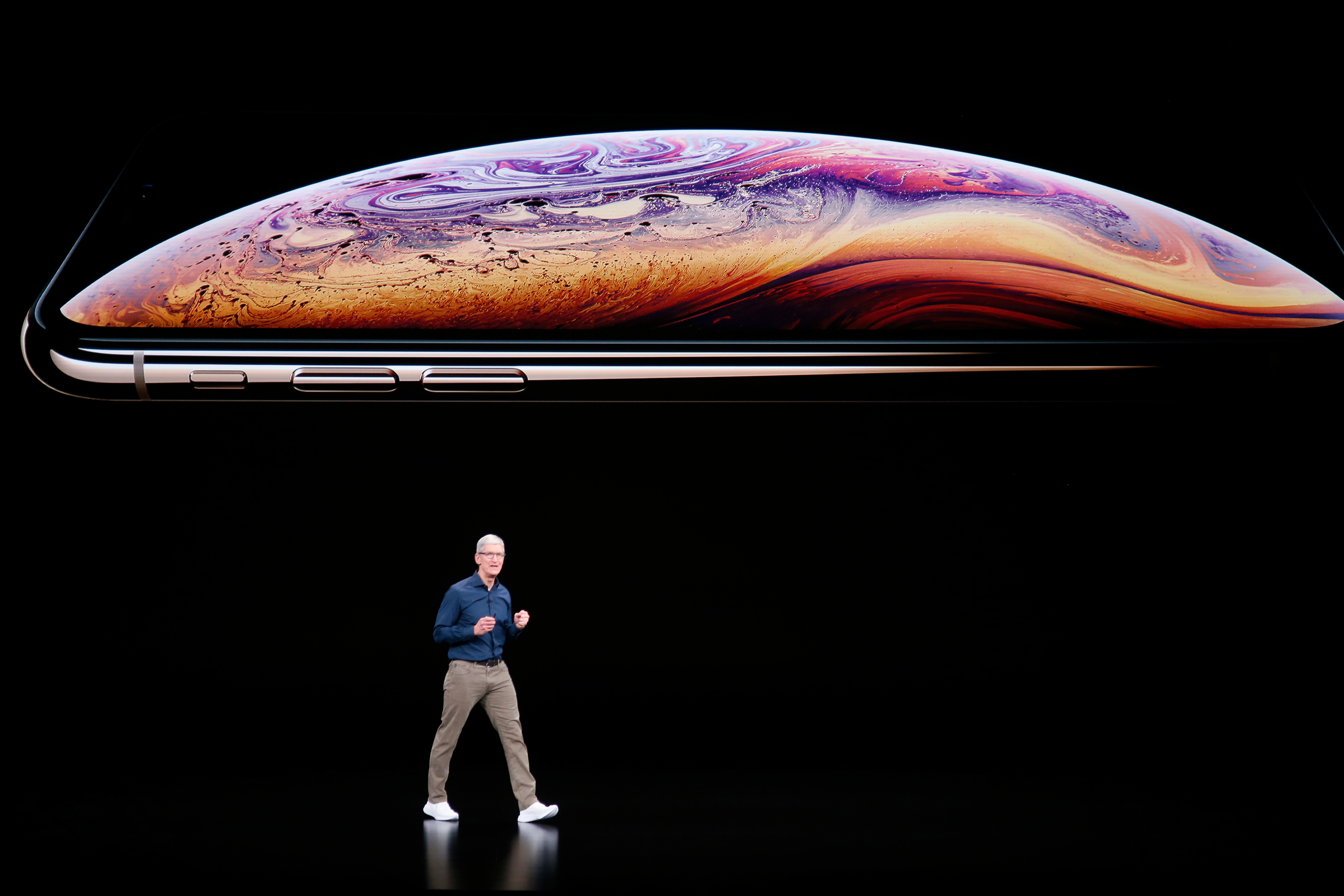 CUPERTINO, CA - SEPTEMBER 12: Tim Cook introduce Apple's new smartphone, the iPhone Xs, Wednesday, Sept. 12, 2018, at company headquarters in Cupertino, Calif. (Karl Mondon/Digital First Media/The Mercury News via Getty Images)