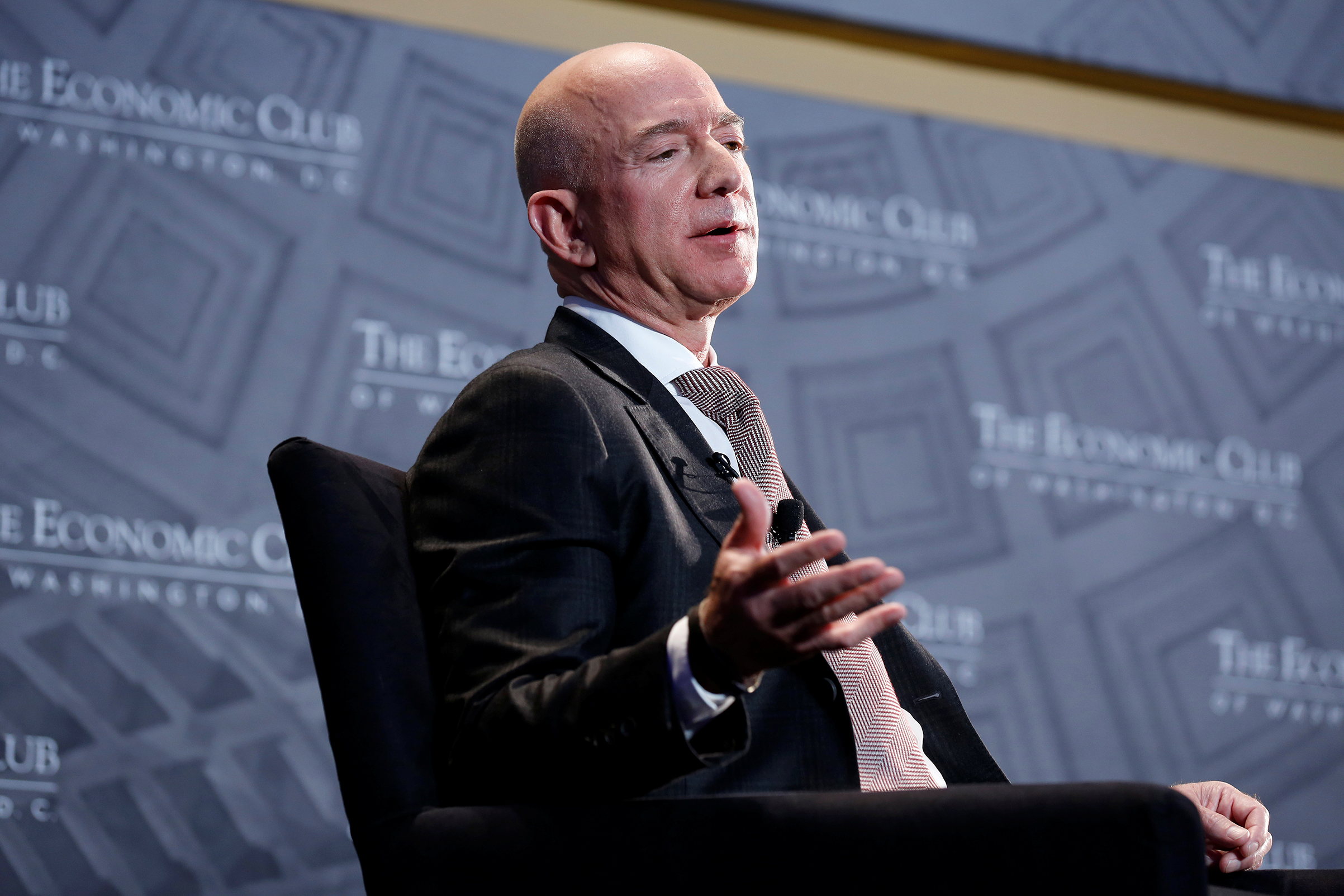 Jeff Bezos, president and CEO of Amazon and owner of The Washington Post, speaks at the Economic Club of Washington DC's  Milestone Celebration Dinner  in Washington, U.S., September 13, 2018.
