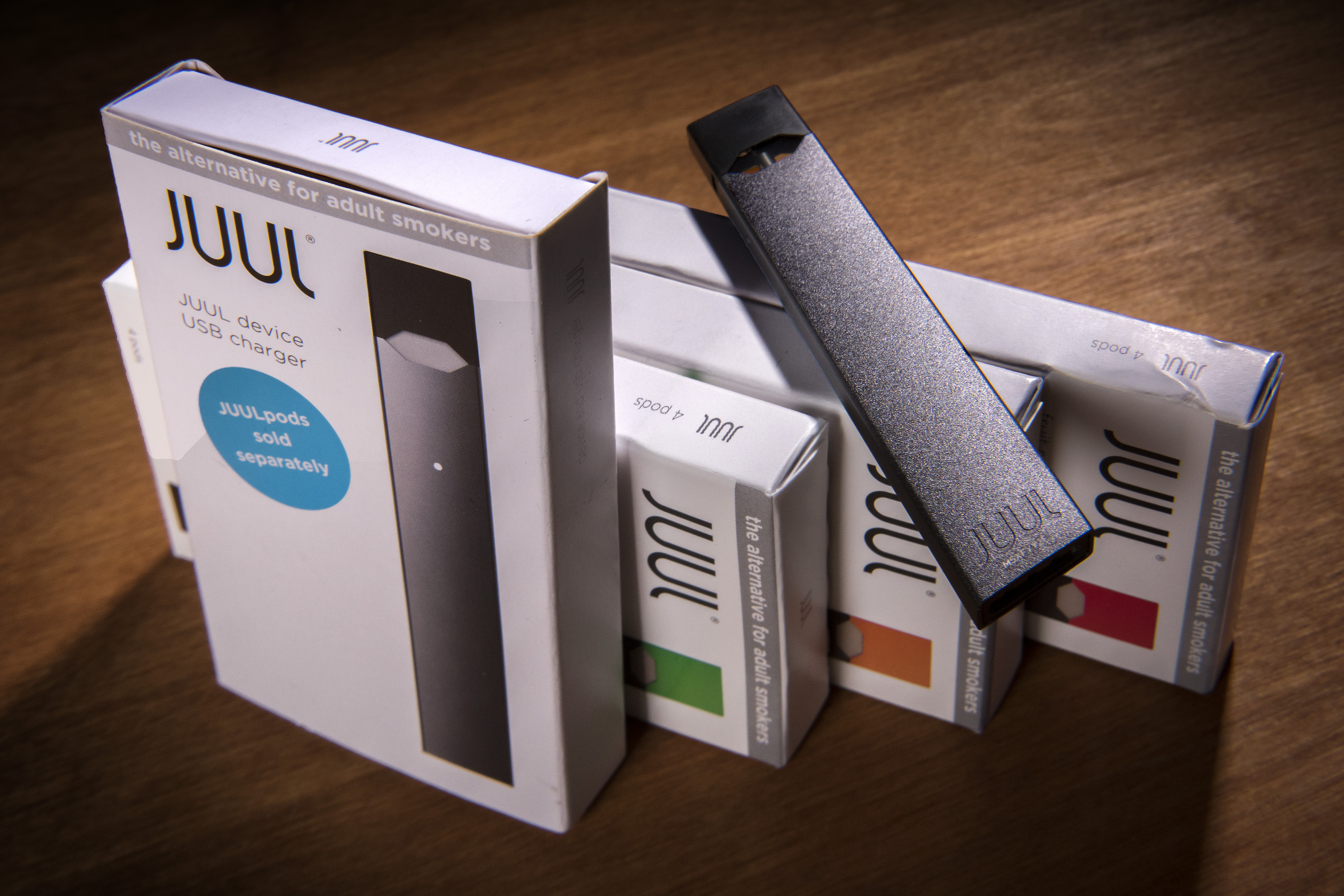 A Juul vaping system with accessory pods in varying flavors on May, 02, 2018 in Washington, DC.