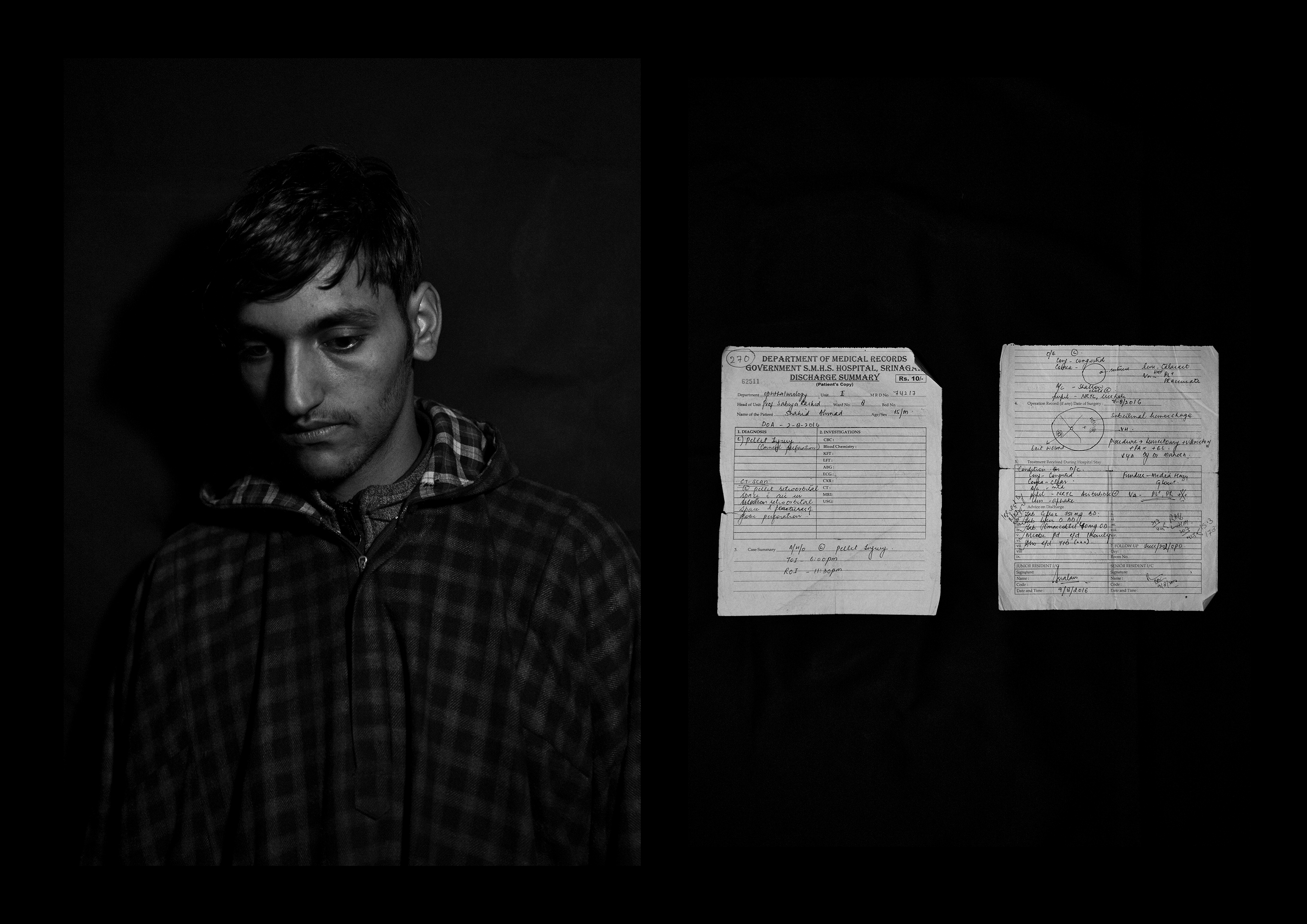 Shahid Ahmad Wani, 16 years old, from Achabal. He was forced to end his studies after being hit by 93 pellets all over his body, with two in the left eye. After three failed surgeries he is now able to only see shadows. To the right of his portrait, his medical records are pictured.