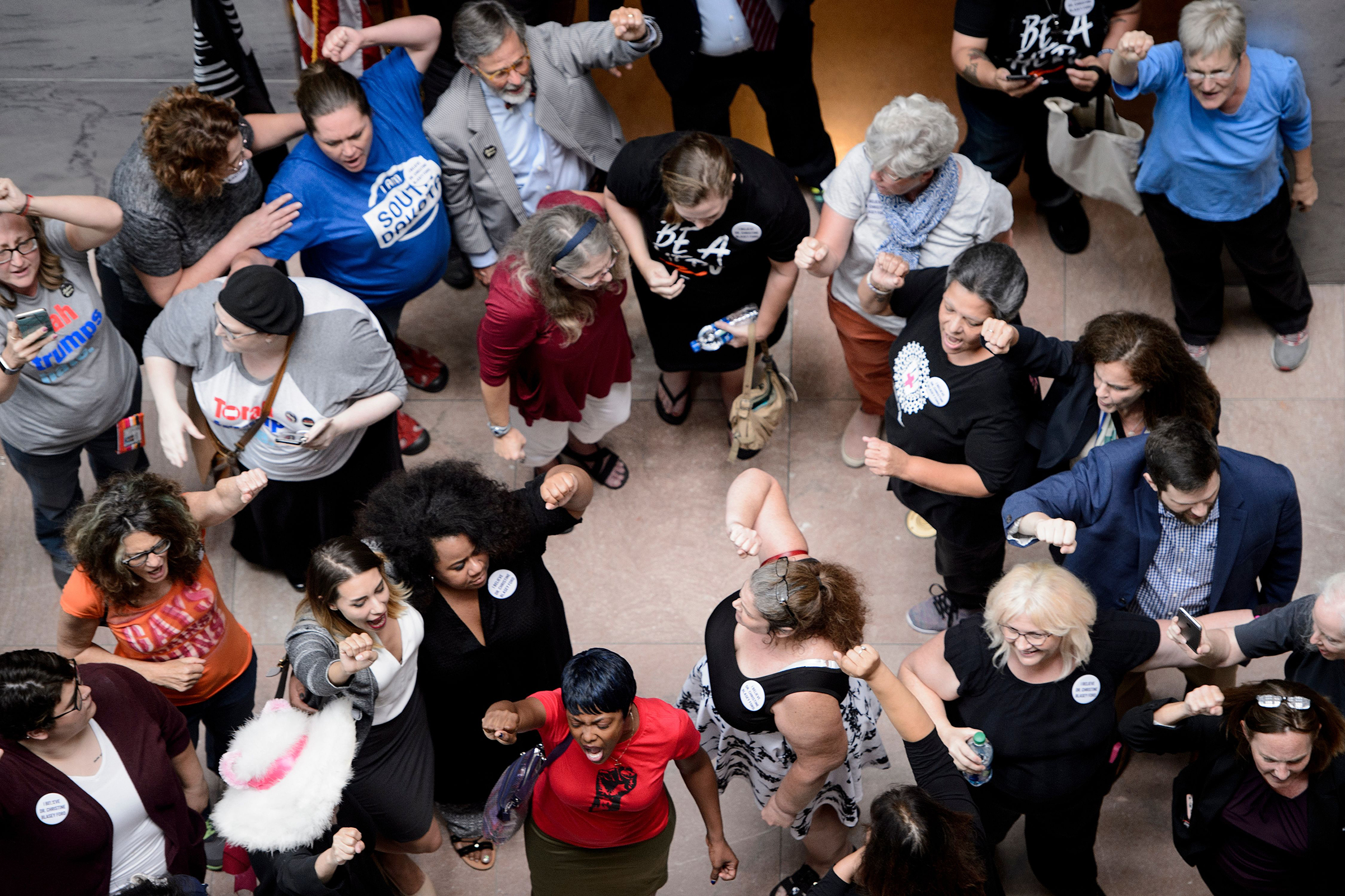 Activists rally outside the office of Senate Judiciary Committee Chairman, Senator Chuck Grassley (R-IA), during protests against Judge Brett Kavanaugh on Capitol Hill Sept. 20, 2018 in Washington, D.C.