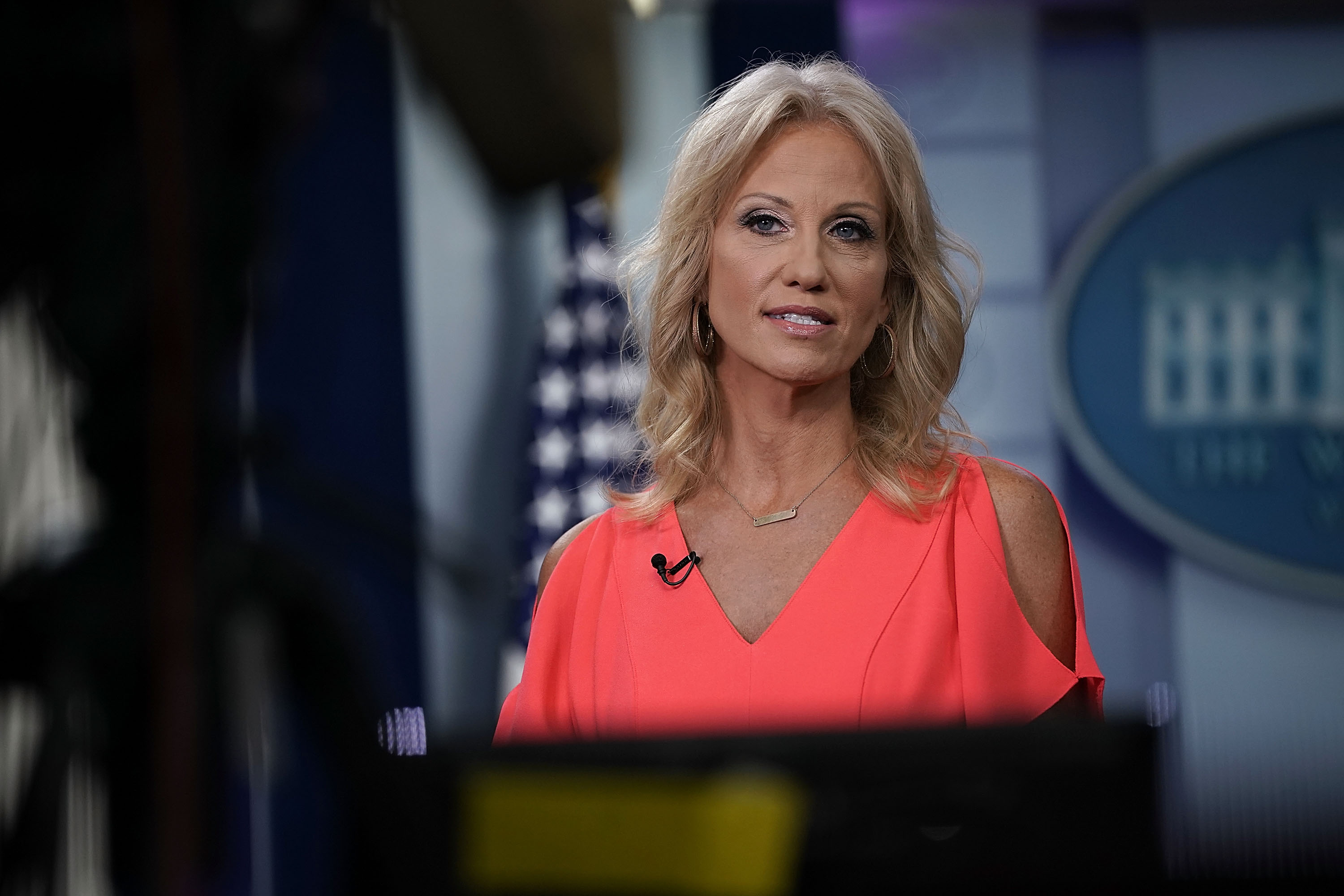Counselor to U.S. President Donald Trump Kellyanne Conway speaks during an interview with Fox News Channel at the James Brady Press Briefing Room of the White House August 21, 2018 in Washington, DC.