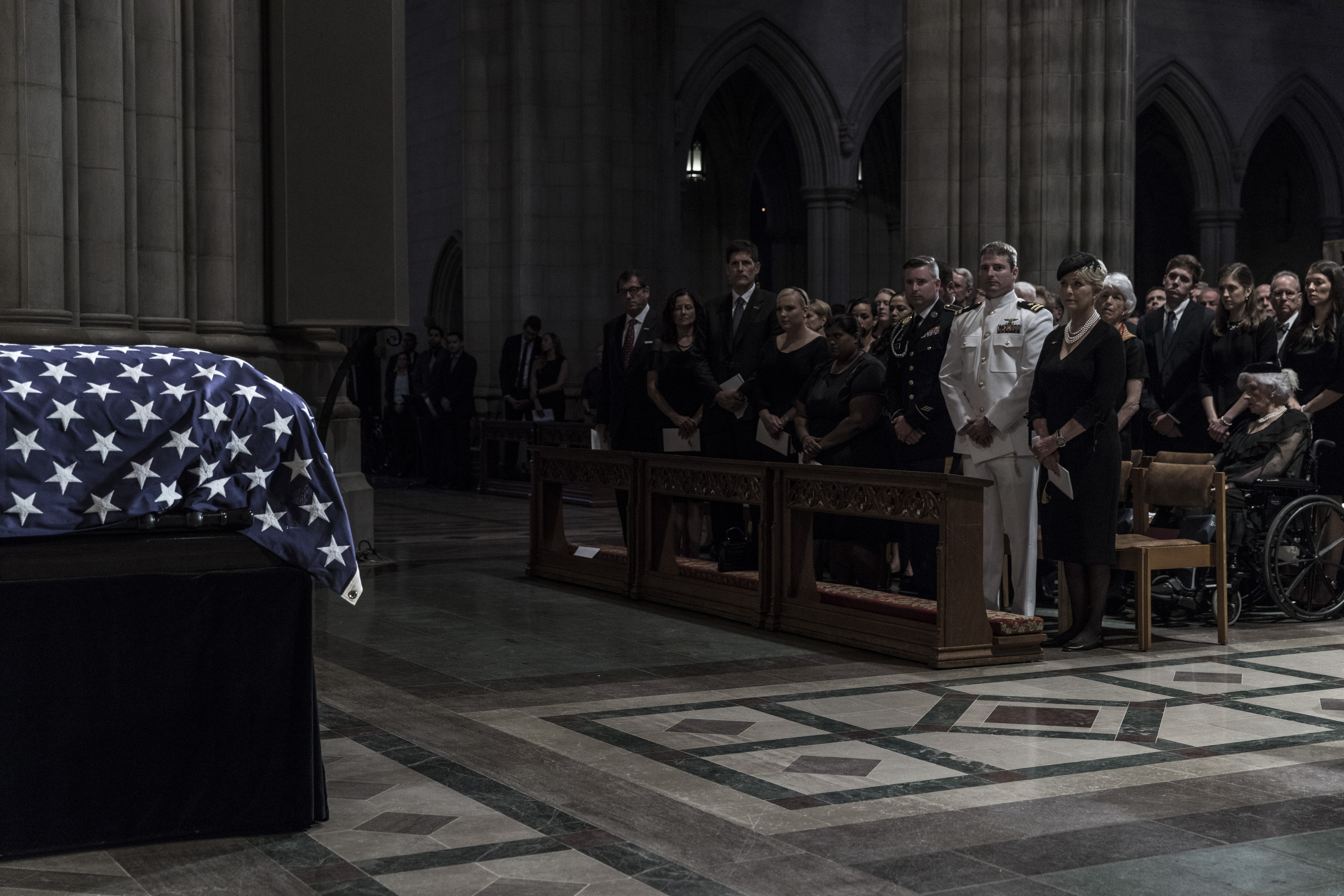 The McCain family at the memorial service for Sen. John McCain at the Washington National Cathedral on September 1, 2018.