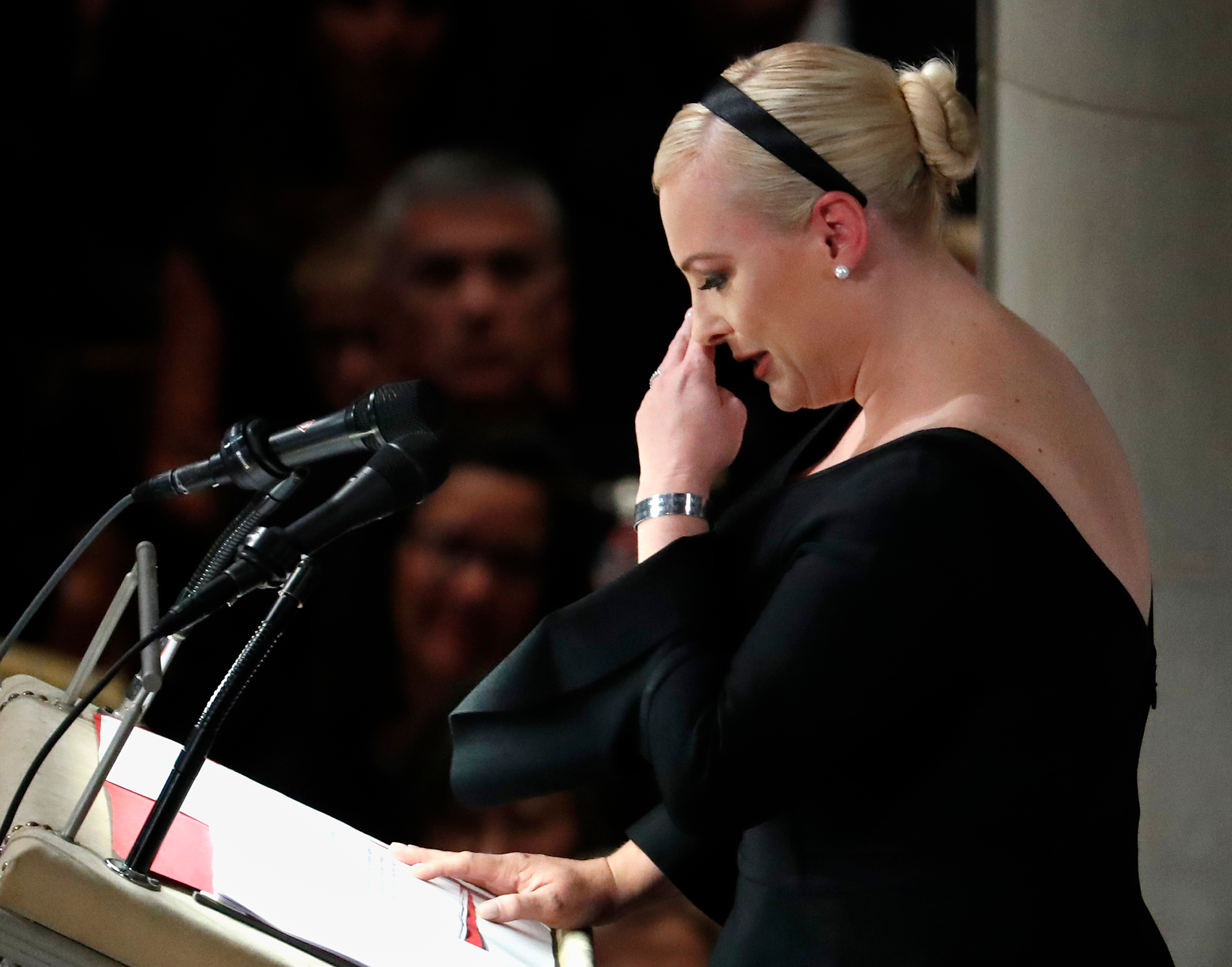 Meghan McCain speaks at a memorial service for her father, Sen. John McCain, R-Ariz., at Washington Nationals Cathedral in Washington, DC on Sept. 1, 2018.