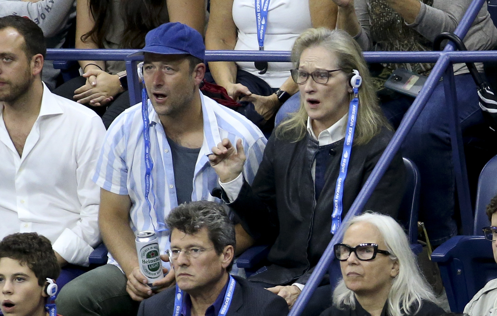 Meryl Streep attends the men's final on day 14 of the 2018 tennis US Open on Arthur Ashe stadium at the USTA Billie Jean King National Tennis Center on September 9, 2018 in Flushing Meadows, Queens, New York City. (Photo by Jean Catuffe/GC Images)
