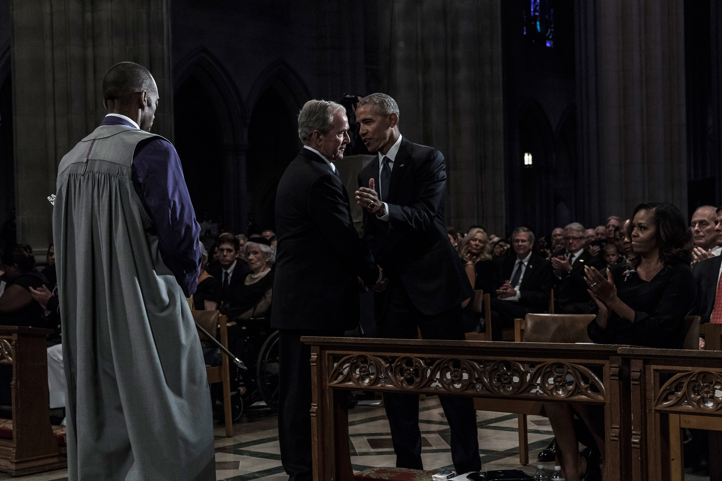 Former US Presidents Barack Obama, and George W. Bush during a memorial service for Senator John McCain at the Washington National Cathedral on September 1, 2018.