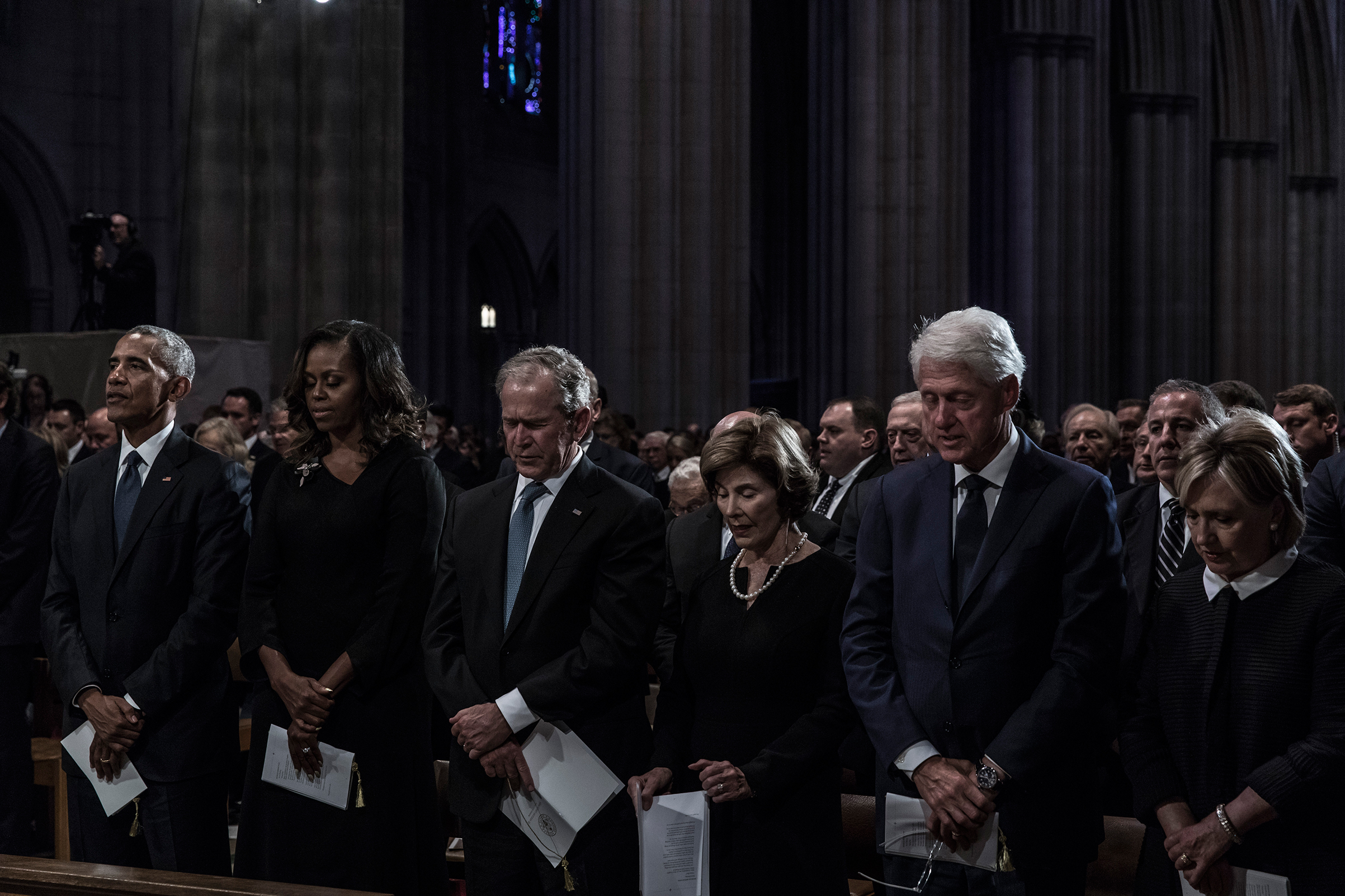 Former US President Barack Obama, Michelle Obama, former President George W. Bush, Laura Bush, former President Bill Clinton and and Hillary Clinton during a memorial service for Senator John McCain at the Washington National Cathedral on September 1, 2018.