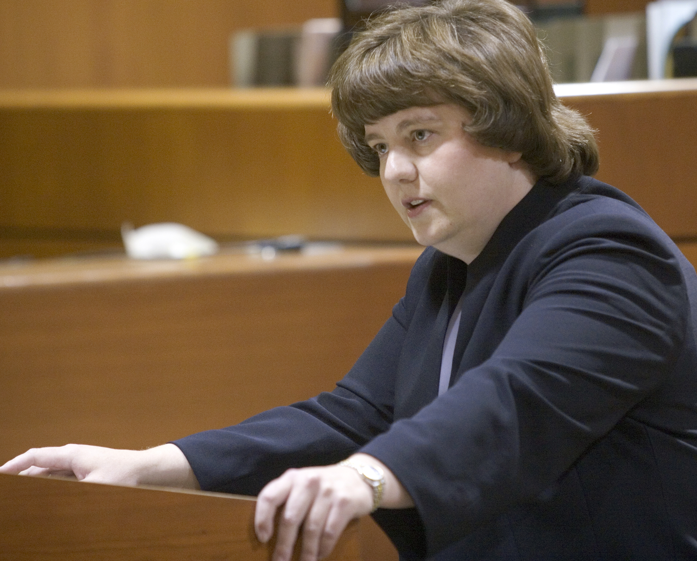 In this Oct. 27, 2004 photo, Rachel Mitchell makes an opening statement in the trial of Karl LeClaire at court in Mesa, Ariz. Senate Republicans are bringing Mitchell to handle questioning about allegations of sexual assault against Supreme Court nominee Brett Kavanaugh on Thursday, Sept. 27, 2018.