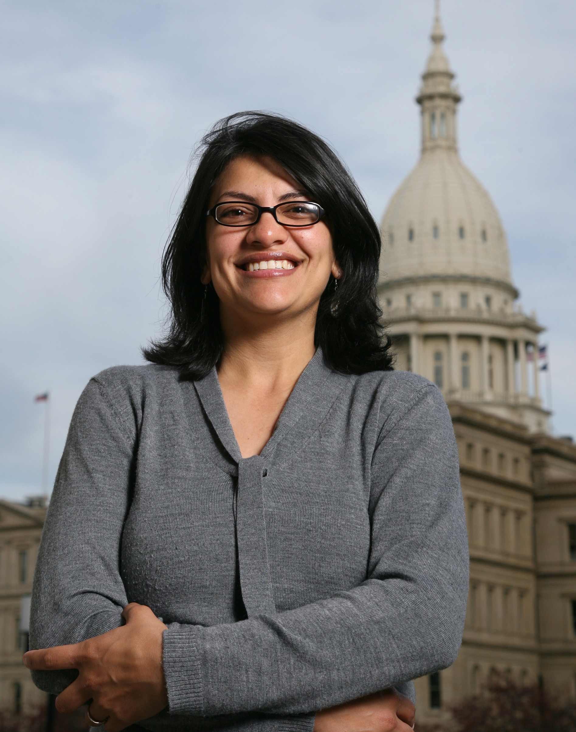 Rashida Tlaib is shown in front of the Michigan Capitol after her election as the first Muslim woman to serve in the state House.