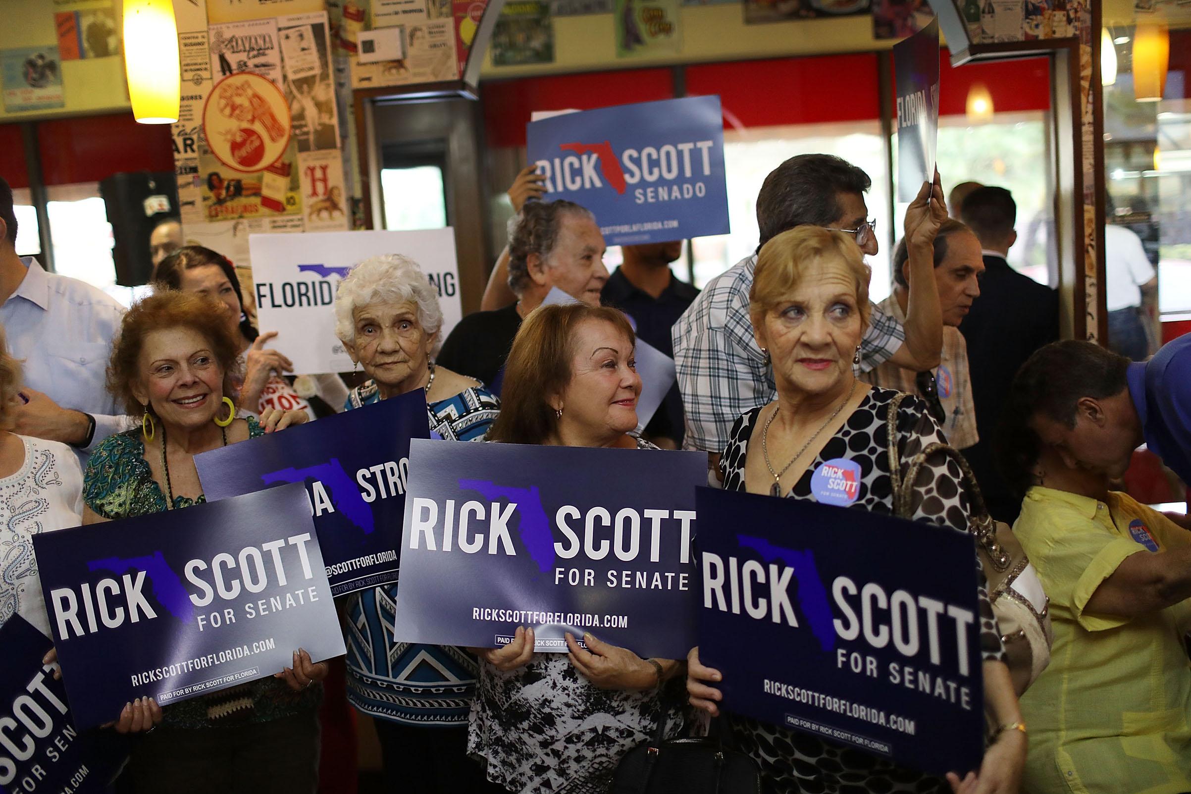 In two of five recent polls, Scott has led his Democratic opponent, Senator Bill Nelson, among Hispanic voters