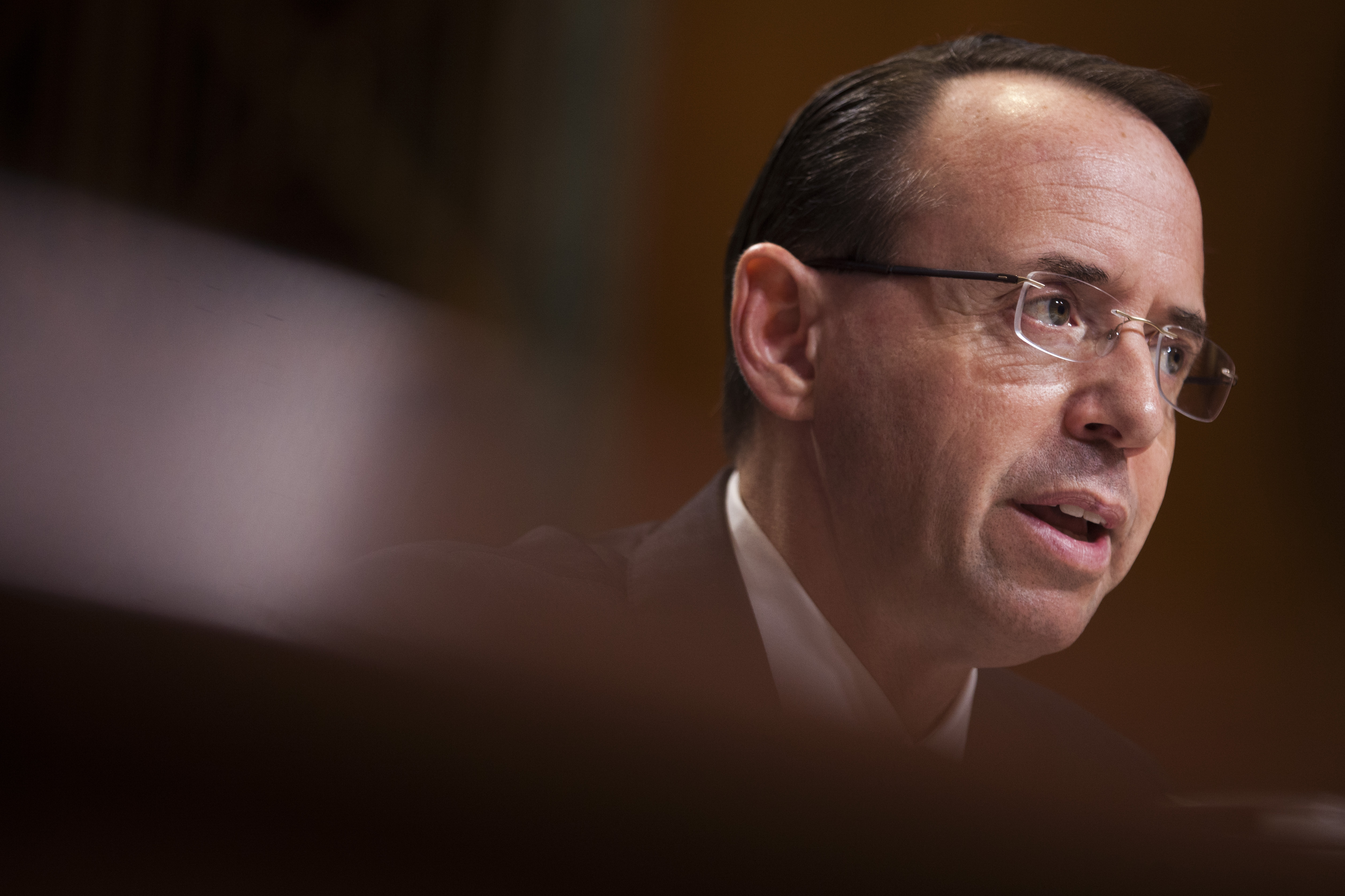 Deputy Attorney General Rod Rosenstein testifies during a Senate Commerce, Justice, Science, and Related Agencies Subcommittee hearing on the Justice Department's proposed FY18 budget  on Capitol Hill on June 13, 2017 in Washington, D.C.