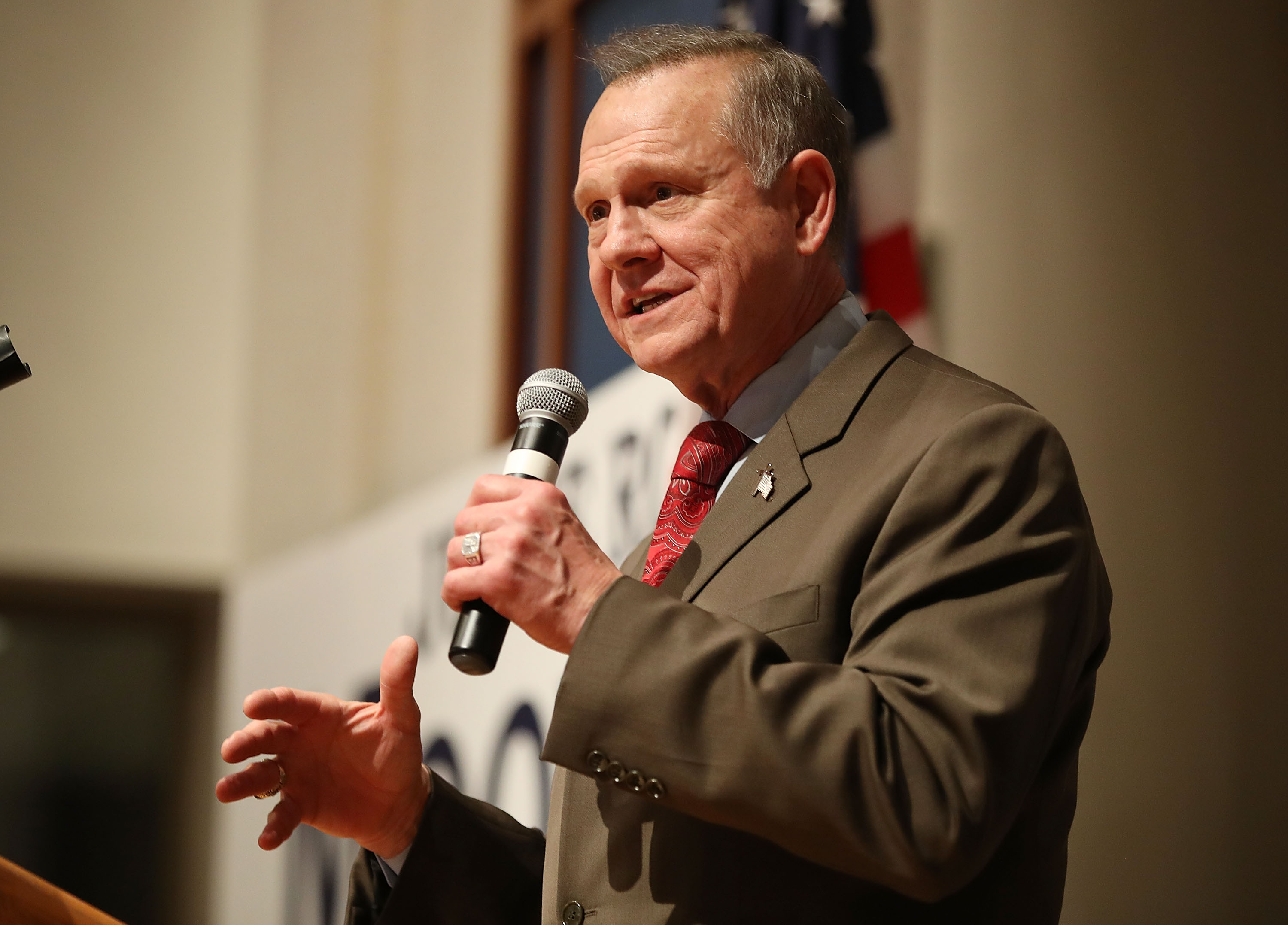 Republican Senatorial candidate Roy Moore speaks about the race against his Democratic opponent Doug Jones is too close and there will be a recount during his election night party in the RSA Activity Center on December 12, 2017 in Montgomery, Alabama.