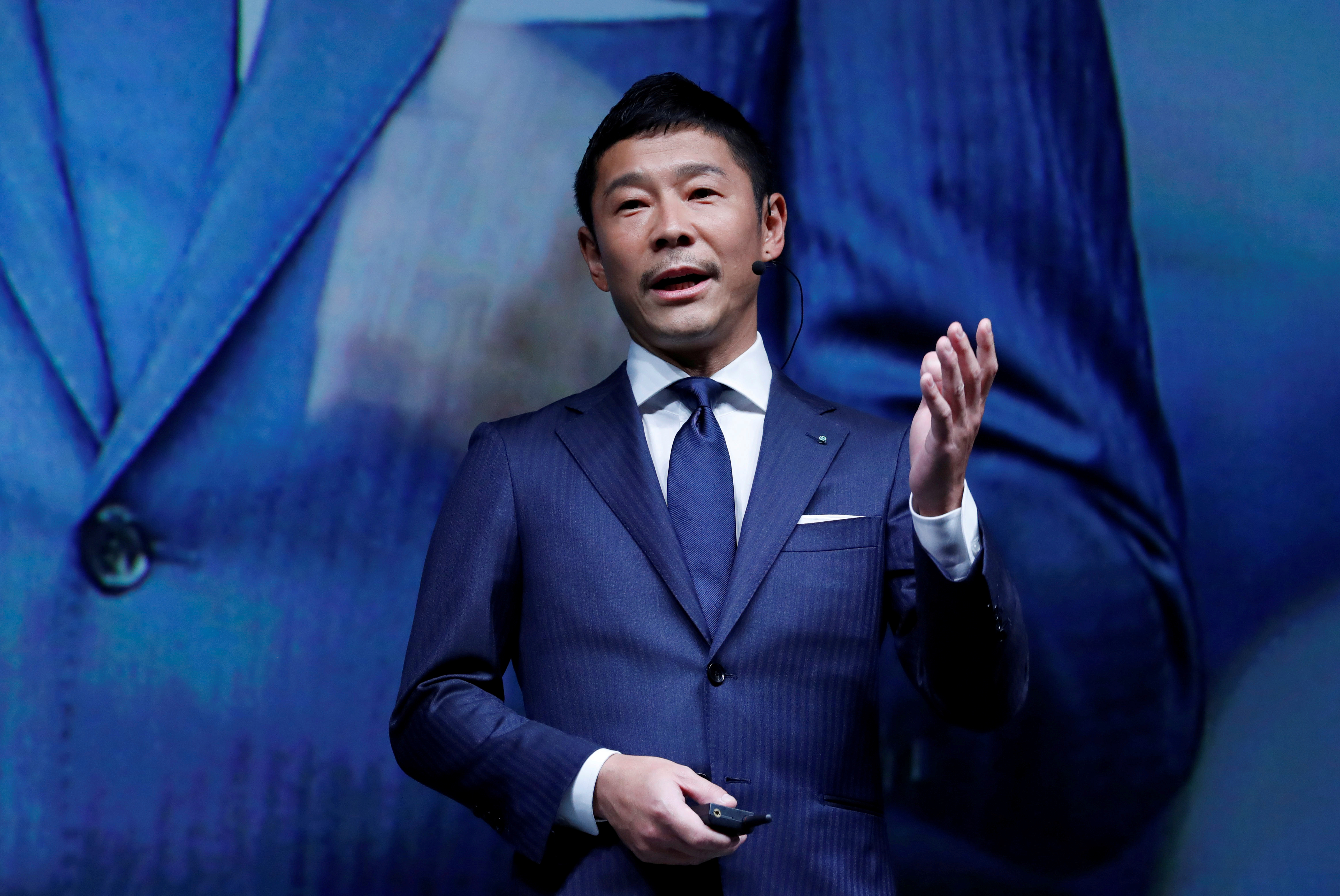 Yusaku Maezawa, the chief executive of Zozo, speaks at an event in Tokyo, Japan on July 3, 2018.