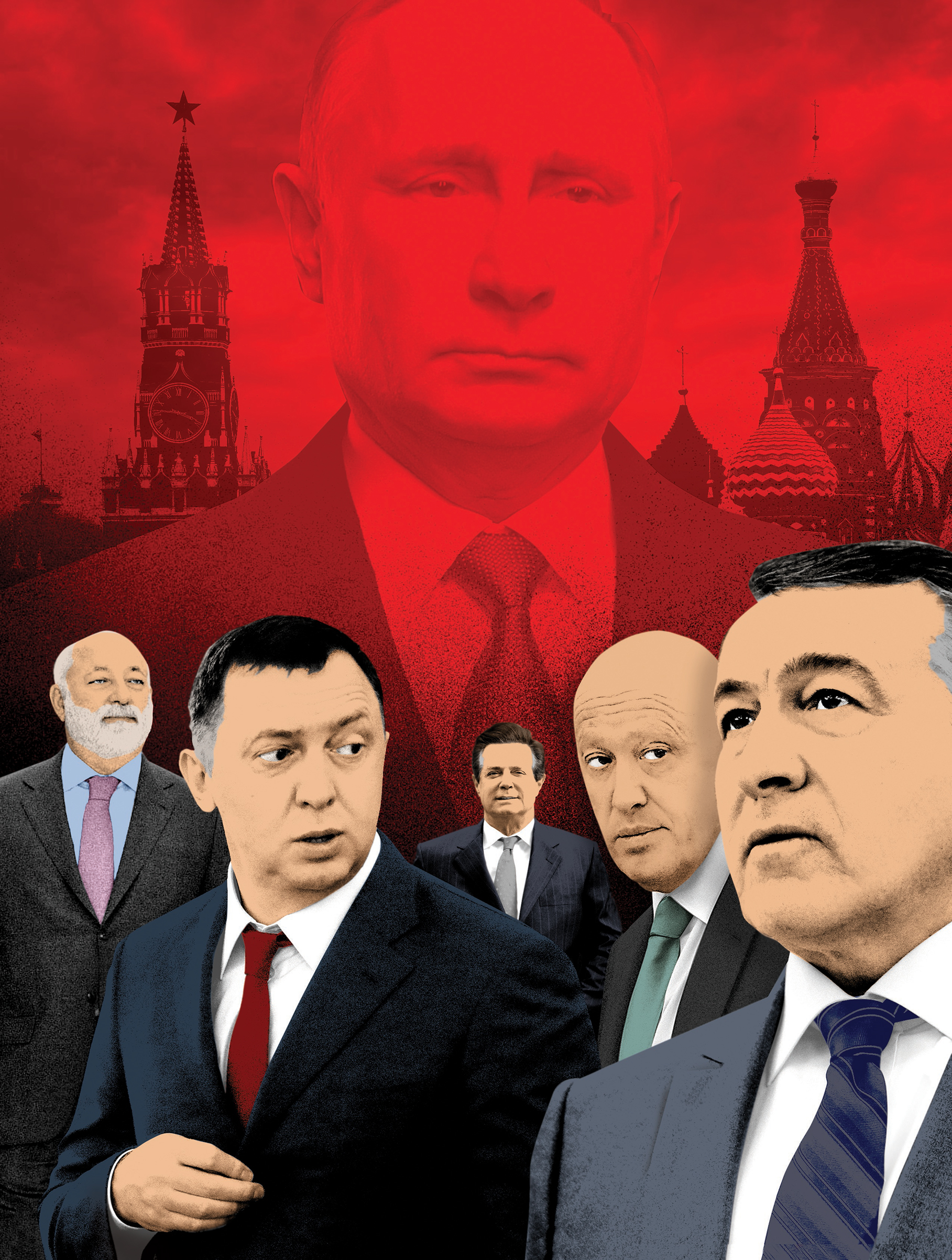 Putin relies on Russia's richest men to project power. From left: ViktorVekselberg, Oleg Deripaska, Evgeny Prigozhin and Aras Agalarov. Paul Manafort, center, worked for Deripaska.