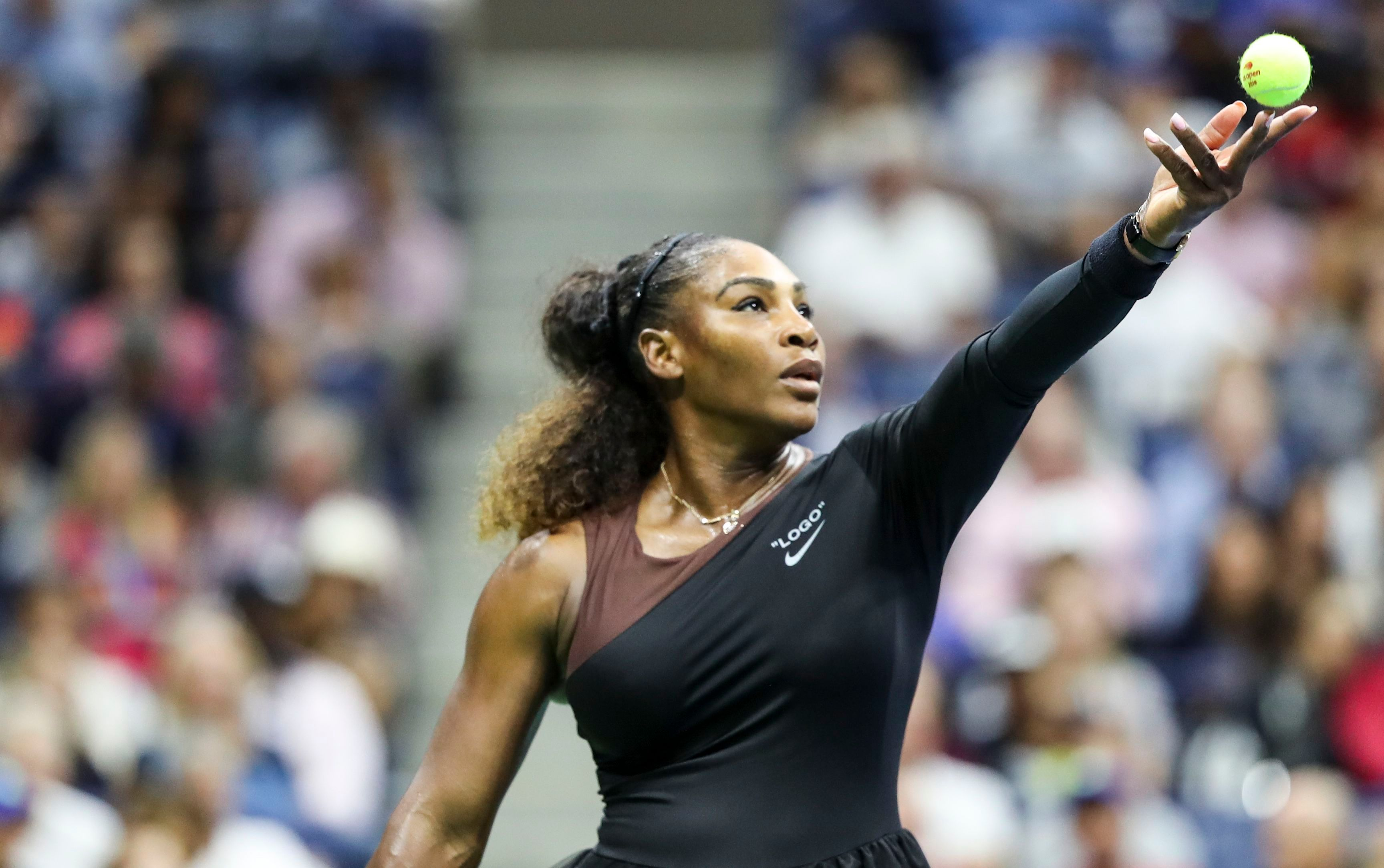 Serena Williams in action during the women's final                     U.S. Open Tennis Championships at the USTA National Tennis Center in Flushing Meadows, New York, on Sept. 8, 2018.