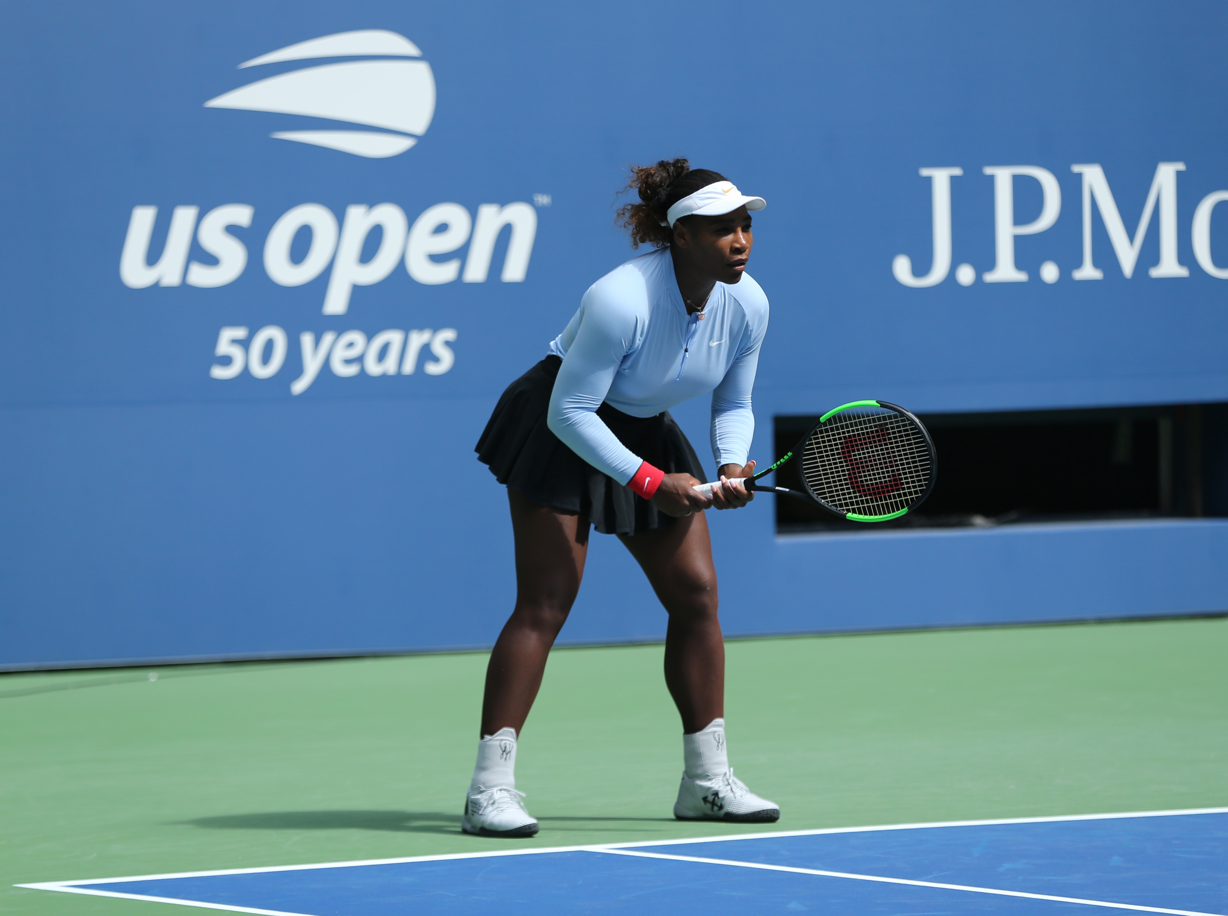 Serena Williams practices for the U.S. Open in New York, New York on Aug. 23, 2018.