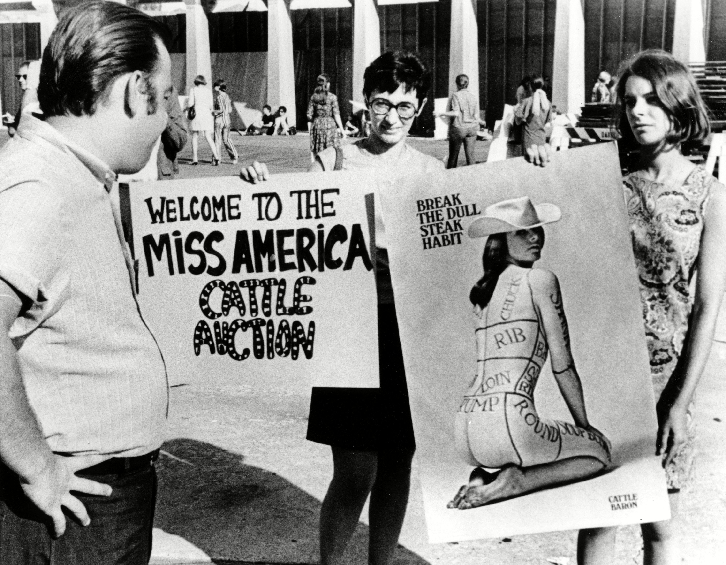 Protesters denounce the swimsuit competition as a cattle auction on the boardwalk in Atlantic City, N.J., where the Miss America Pageant is taking place on Sep. 7, 1968.