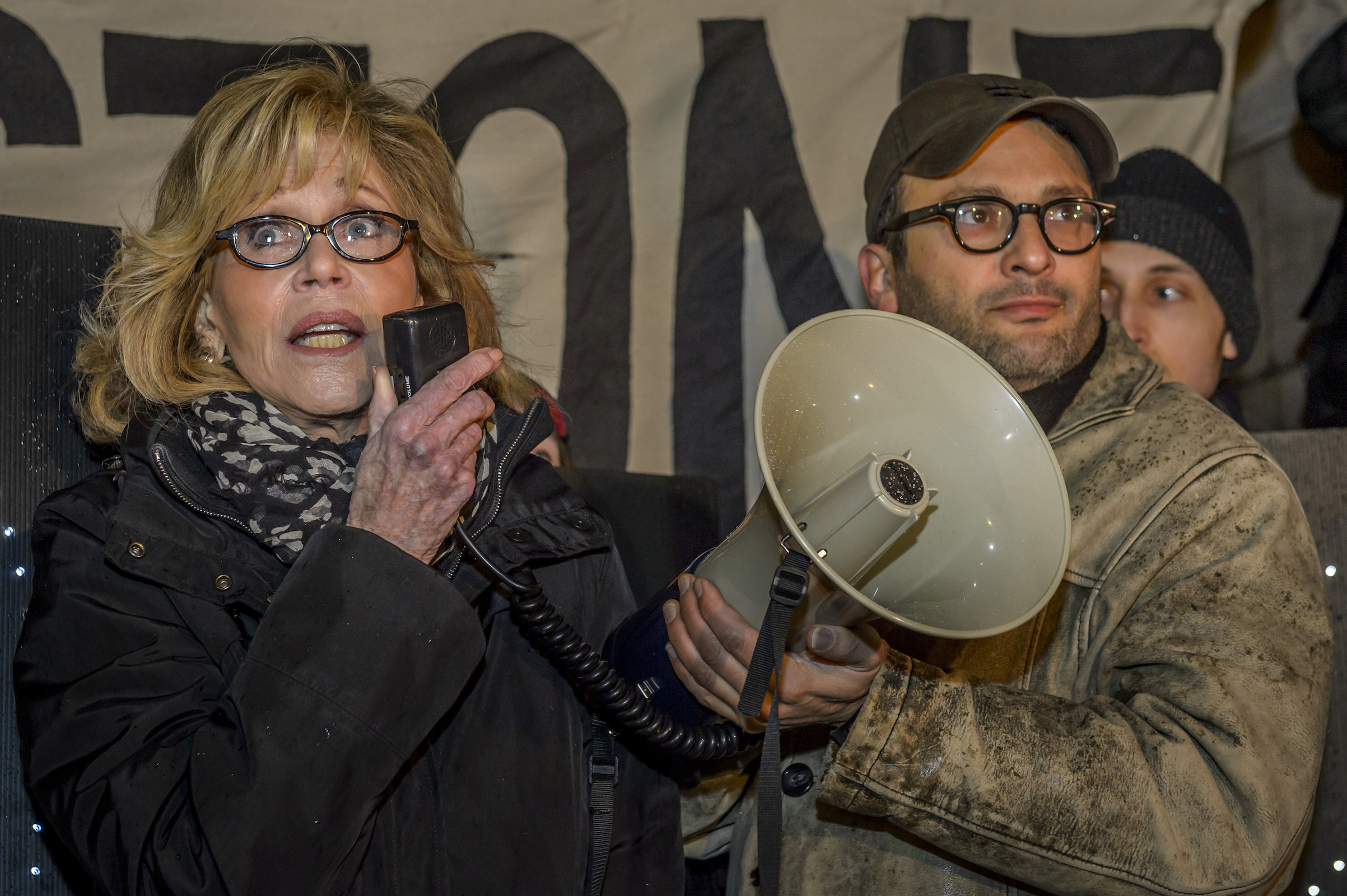 Two-time Academy Award winner Jane Fonda and Gasland Film director Josh Fox joined in the evening of Jan. 24, 2017, at Columbus Circle in New York City for a rally and march to Trump Tower in a massive peaceful protest after Trump signs orders to advance Keystone XL and Dakota Access Pipelines.