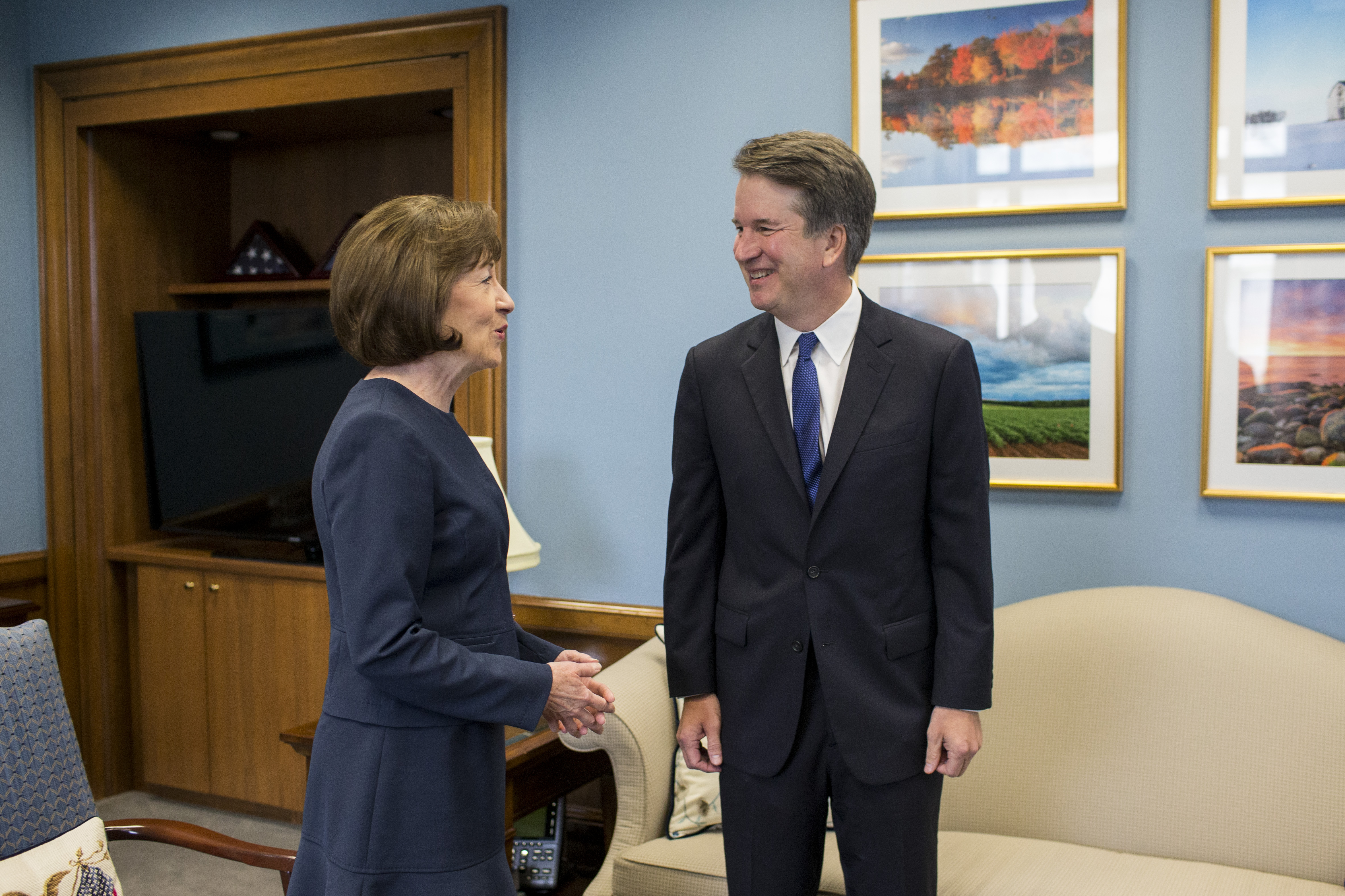 Supreme Court Nominee Brett Kavanaugh meets with Sen. Susan Collins (R-ME) in her office on Capitol Hill on August 21, 2018 in Washington, DC.