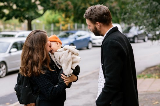 Maja, Martin and their child Pim in Stockholm; Martin plans to take eight months of leave