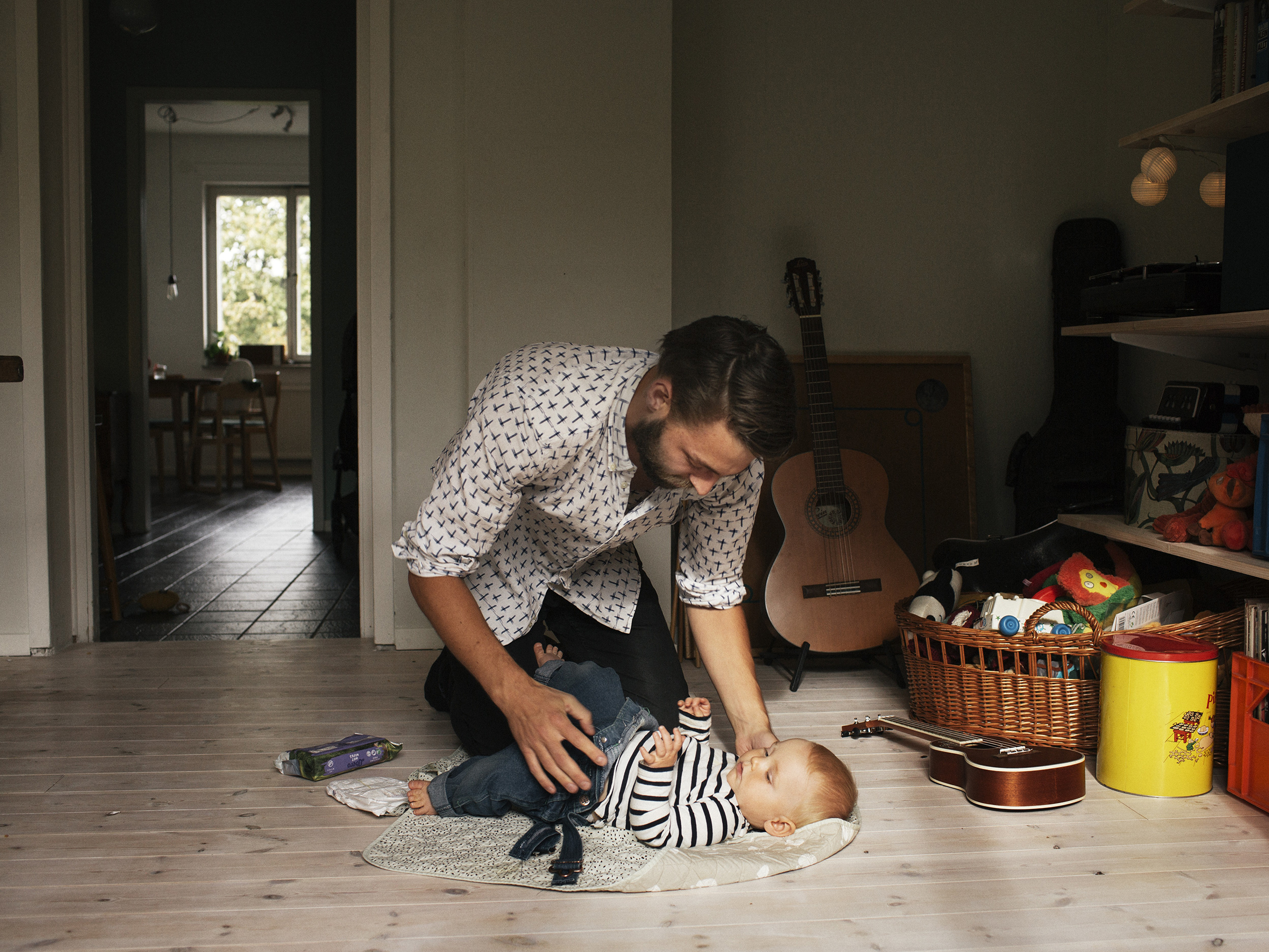 Martin Gunseus, 30, with 9-month-old son Pim, on Sept. 18 in Stockholm, two weeks into his scheduled eight-month paternity leave