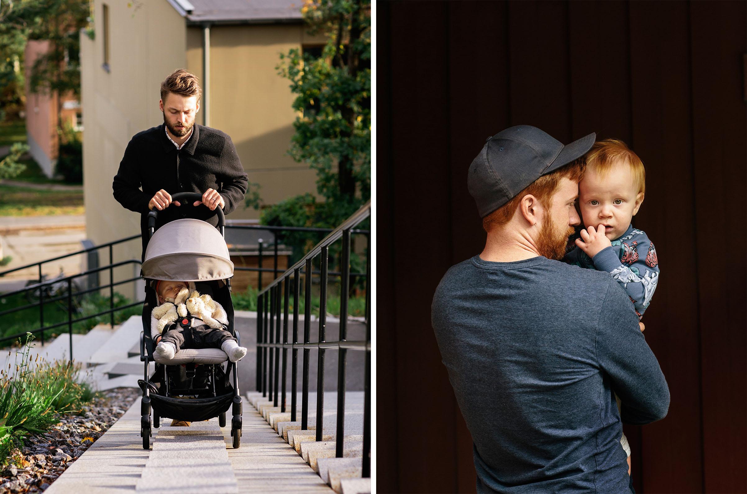 Martin Gunséus, 30, with his son Pim, 9 months old in Stockholm, on Aug. 18; Tobias Rosengren and his son Hugo outside of Öppen Förskola in Årsta, Stockholm, a meeting place for parents on parental leave.