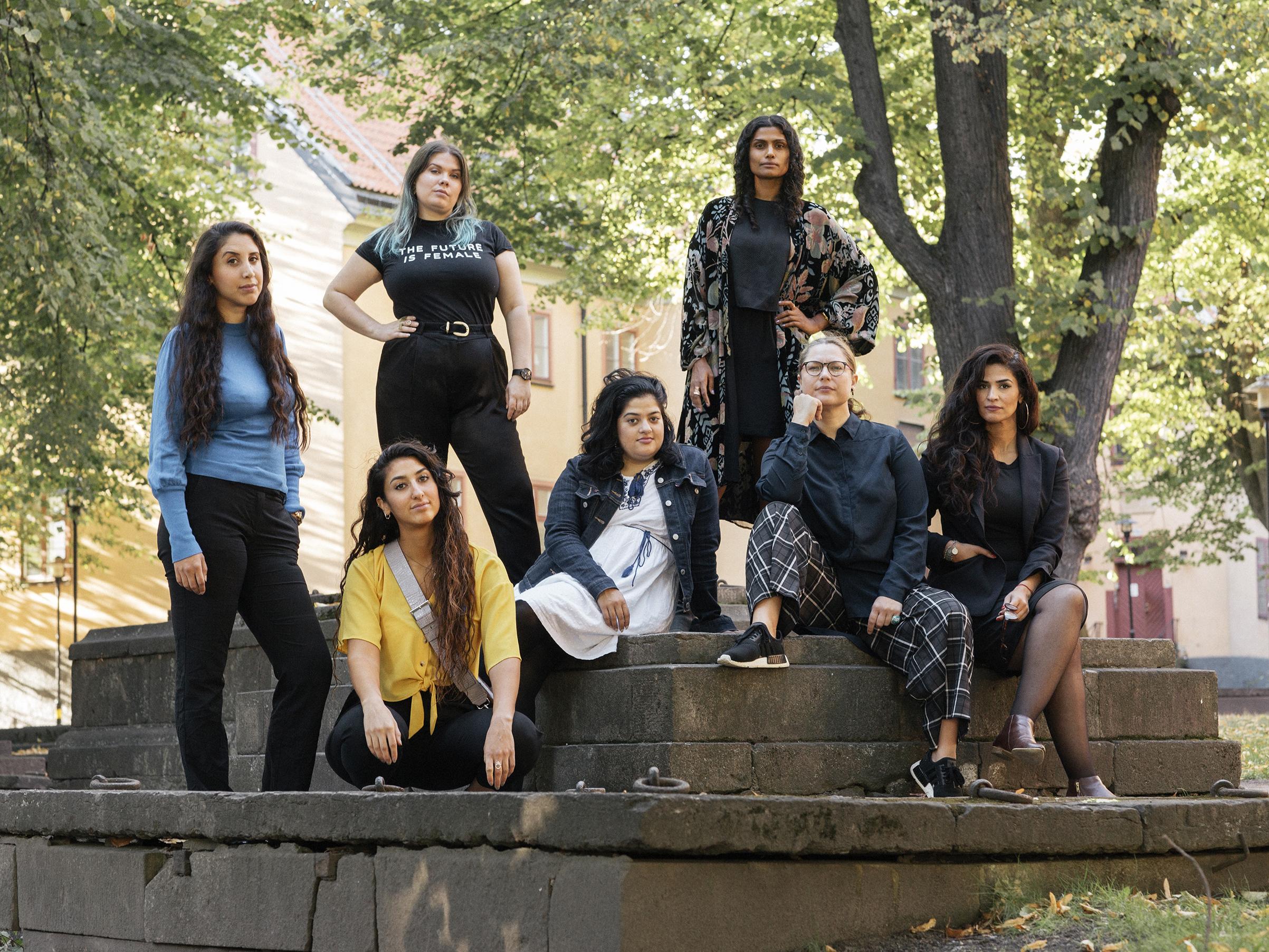 StreetGaris board members, from left to right: Ronak Moaf Mirlashari, Ailin Moaf Mirlashari, Sofia Lindh, Maliha Khan, Manel Rodrick, Emma Strom and Dima Sarsour
