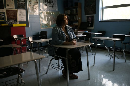 Hope Brown sits in a classroom at Woodford County High School in Versailles, KY on Aug 31.