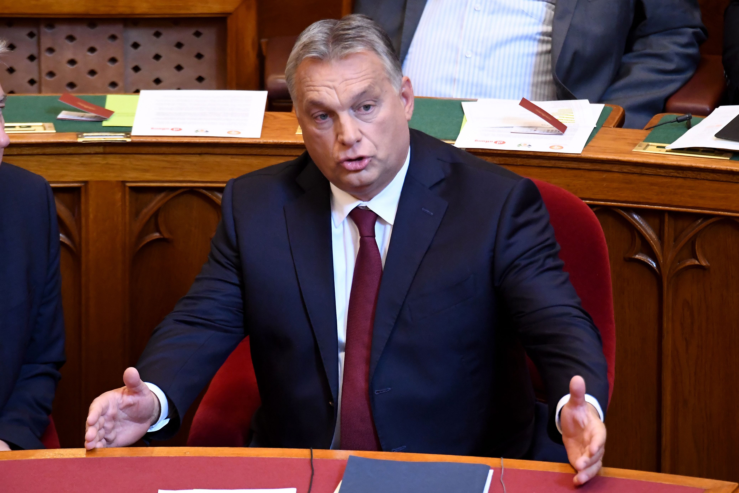 Prime Minister Viktor Orban speaks at the Hungarian parliament in Budapest on Sept. 17.