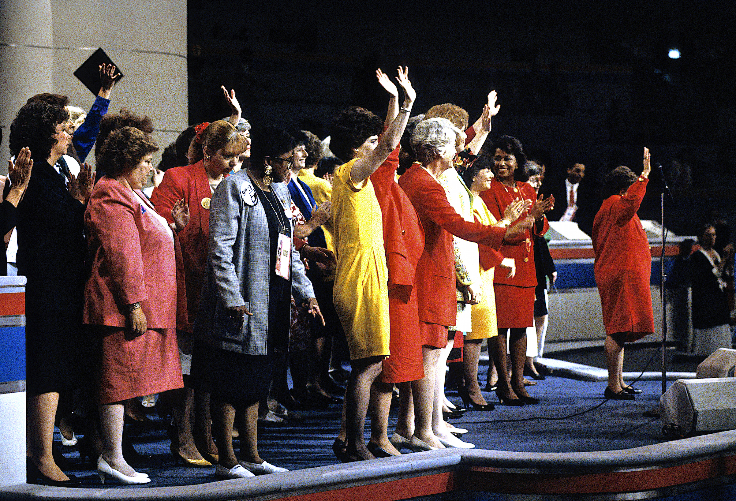 Barbara Jordan, Barbara A. Mikulski, Carol Moseley Braun, Dianne Feinstein, Barbara Boxer, Maxine Waters, and Geraldine Ferraro, among others, on stage at the beginning of the Democratic National Convention in July of 1992.
