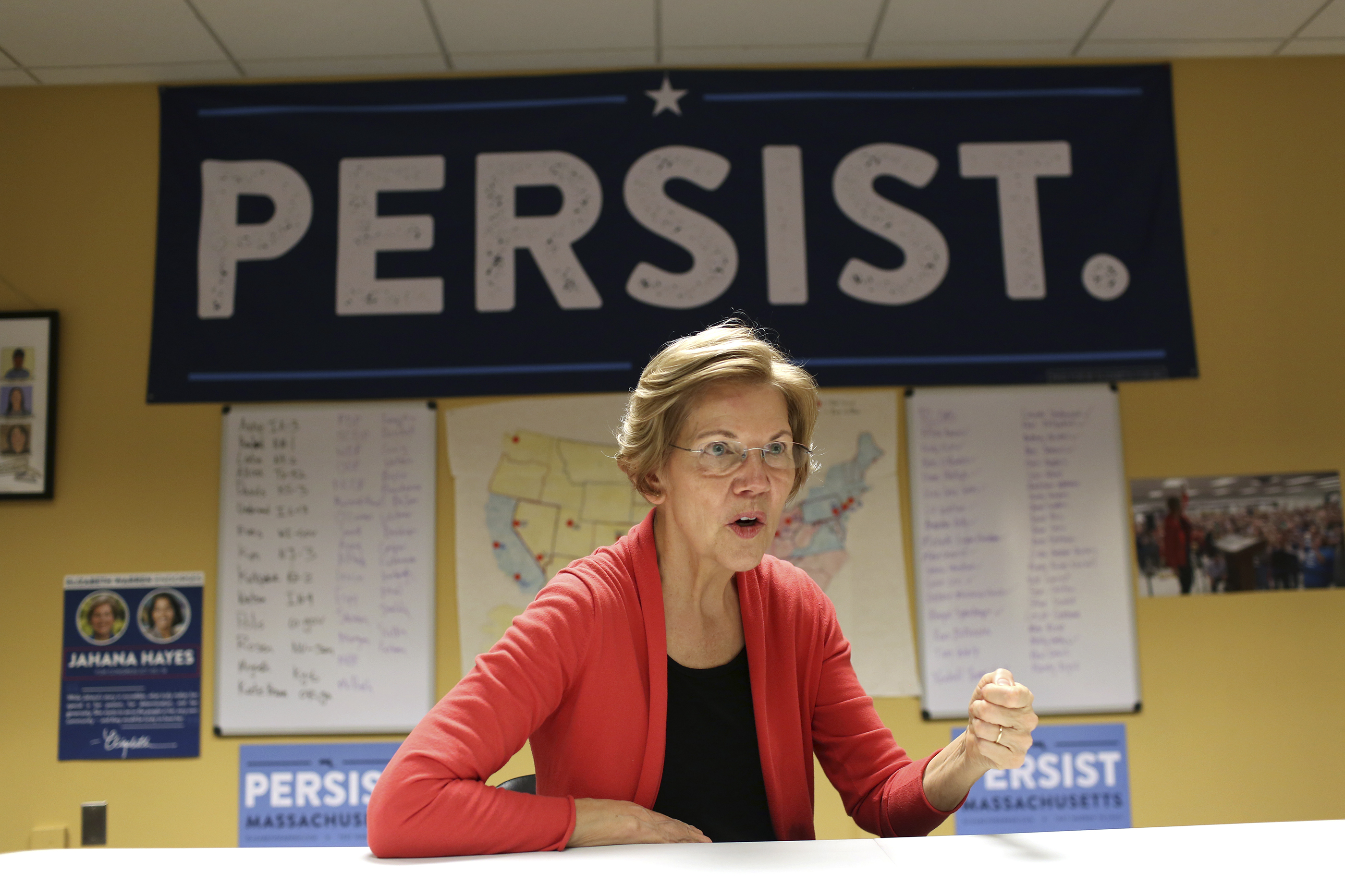Senator Elizabeth Warren speaks in the Democratic Outreach Team's room at her campaign headquarters in Dorchester, October 12, 2018. Hadley Green—Washington Post/Getty Images.