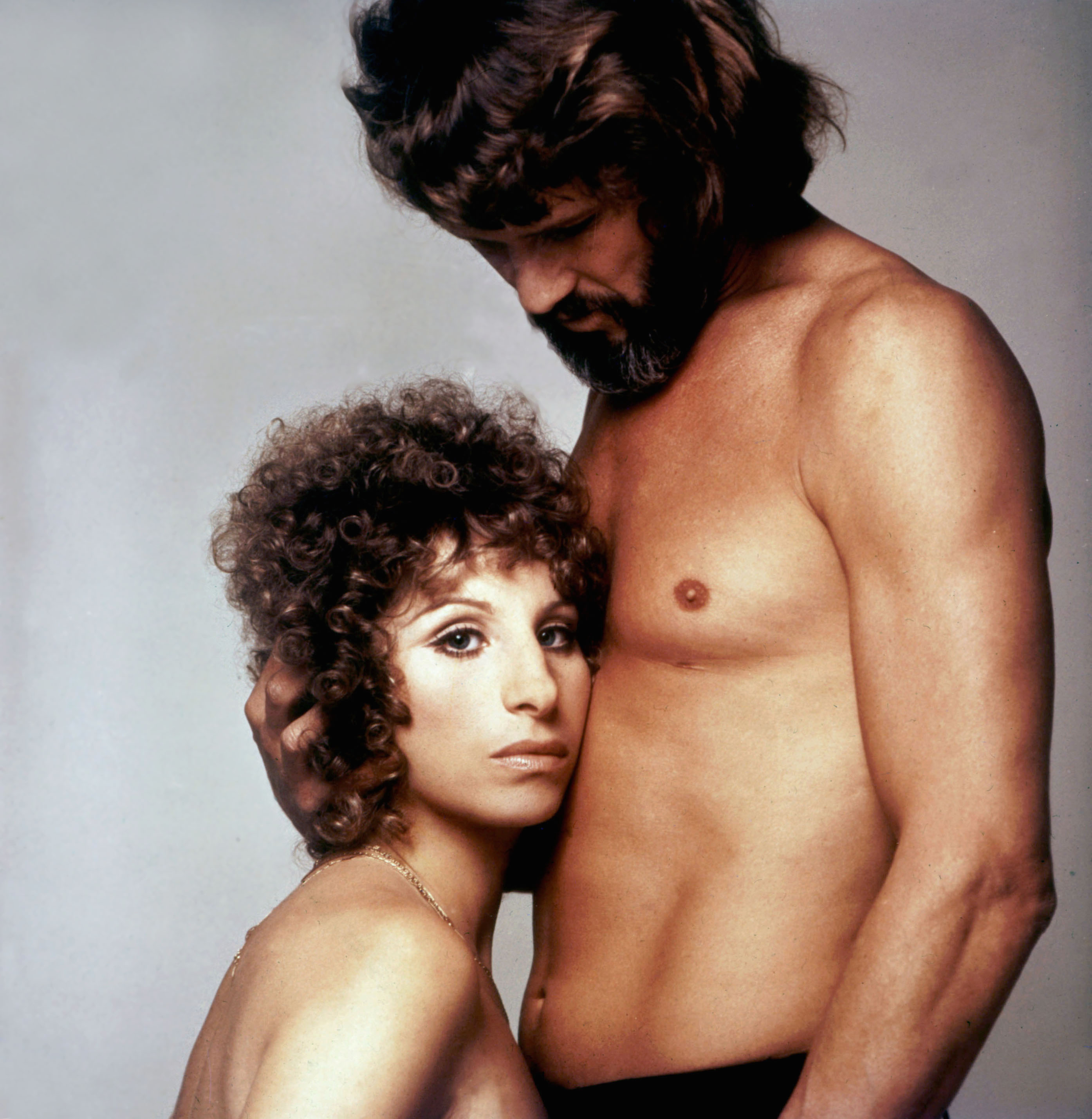 A promotional image of Barbra Streisand and Kris Kristofferson in  A Star Is Born,  1976.