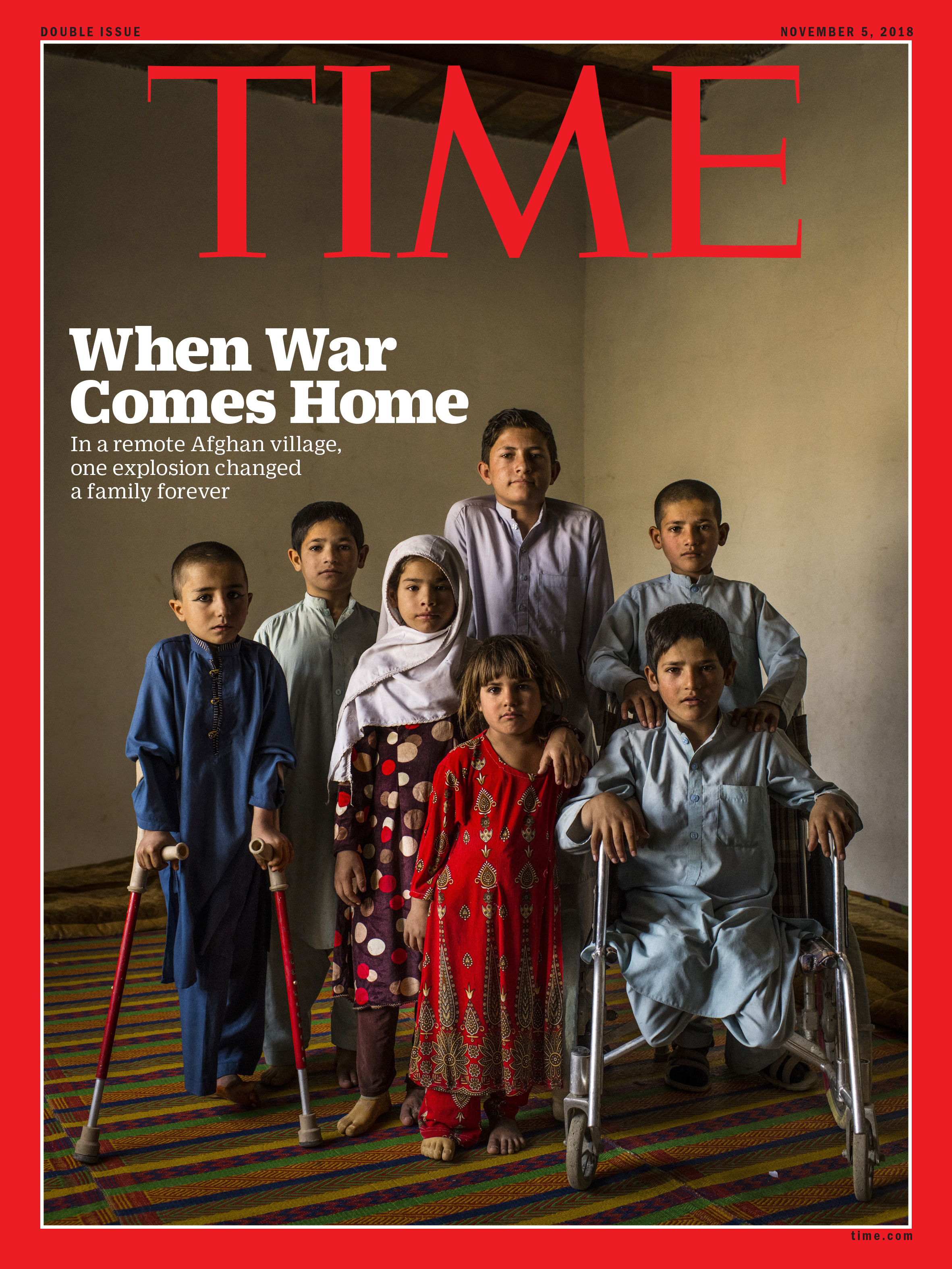The seven children inside their makeshift home classroom on Oct. 11. From left: Aman, Mangal, Rabia, Marwa, Shafiqullah (at rear), Abdul Rashid (in wheelchair) and his twin Bashir. Abdul Rashid, who aggravated one of his wounds while wrestling with his brothers, was the only one yet to be fitted for prostheses. Aman was waiting for his to be repaired, after breaking it while playing.